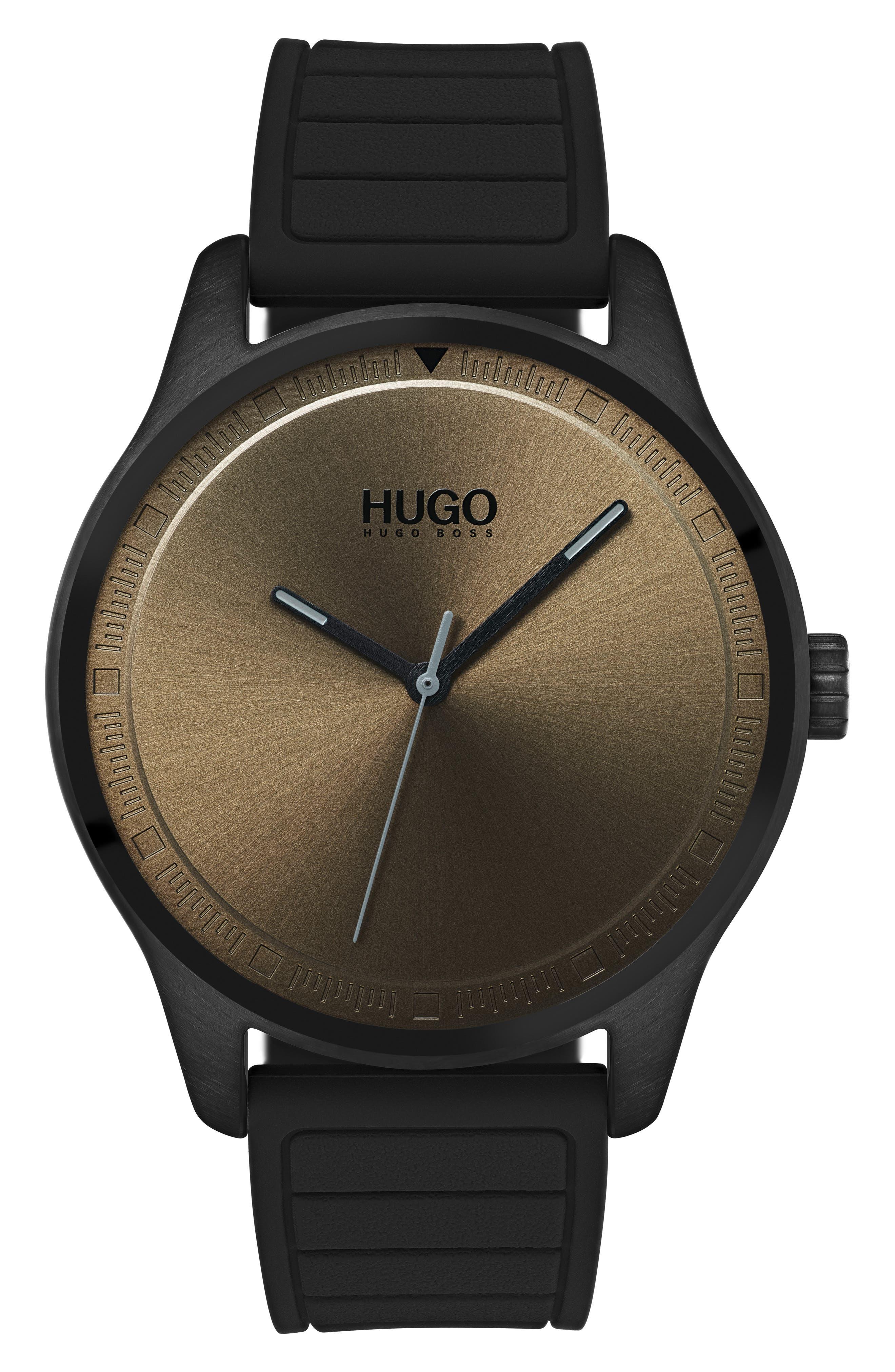 Silicone Strap Watch, 42mm,                             Main thumbnail 1, color,                             KHAKI