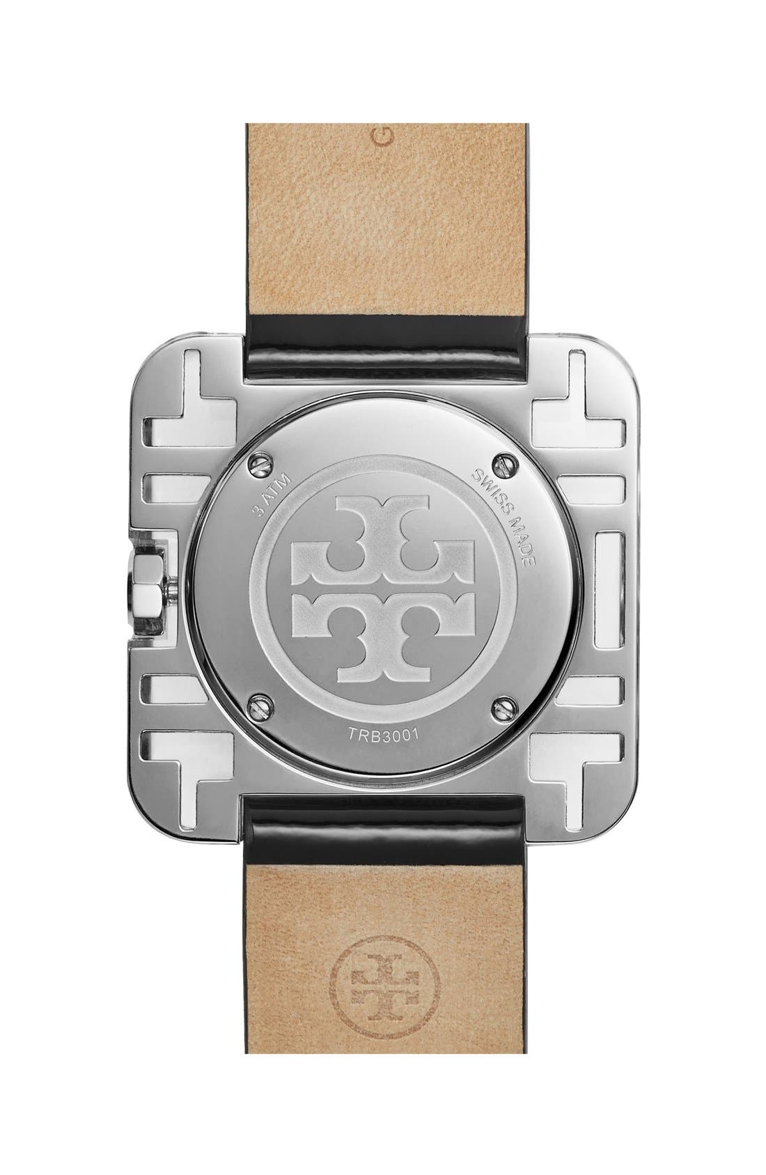 TORY BURCH,                             'Izzie' Square Leather Strap Watch, 36mm,                             Alternate thumbnail 4, color,                             001