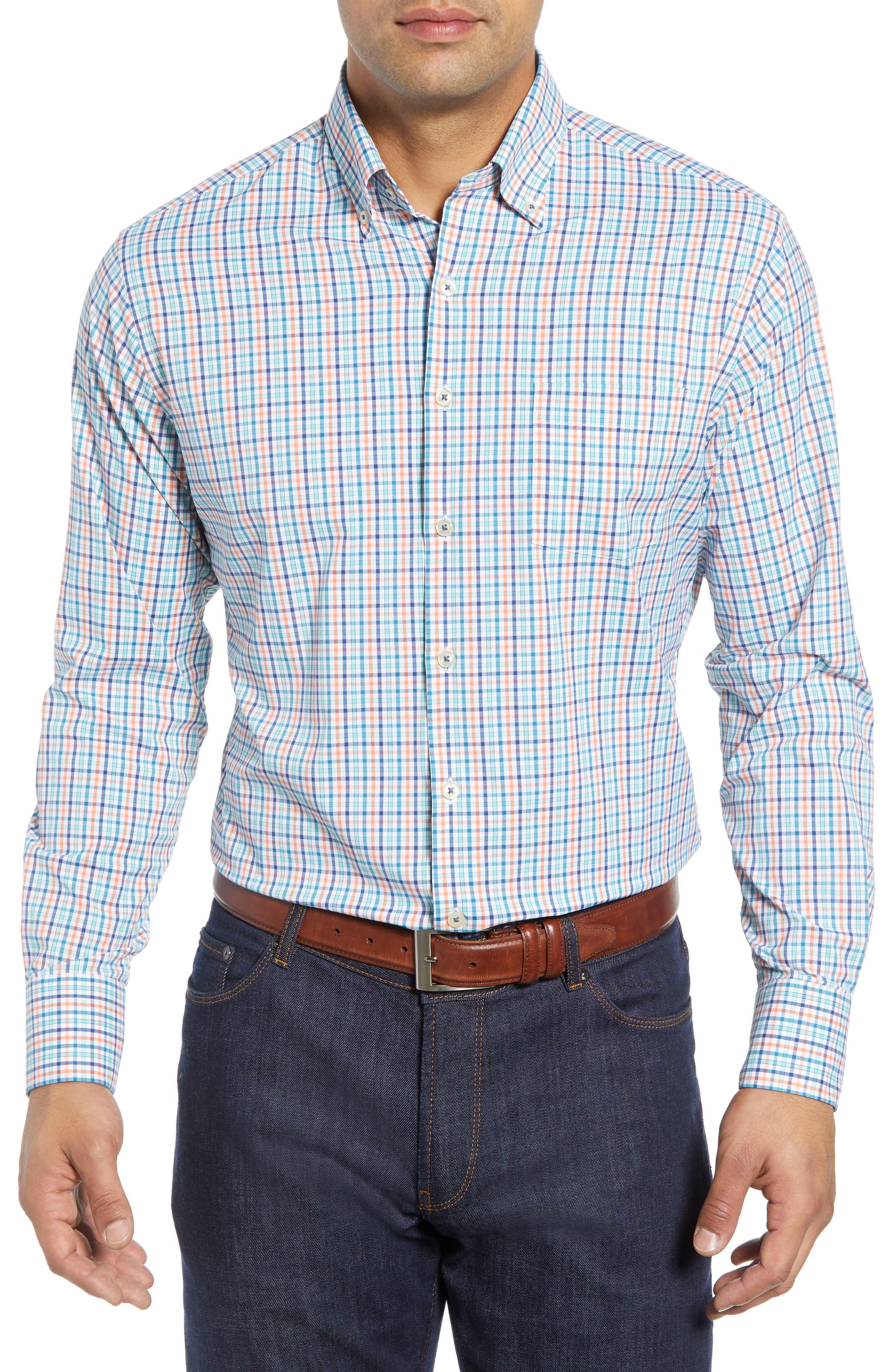 Lawson Regular Fit Tattersall Check Performance Sport Shirt,                         Main,                         color, BLUE