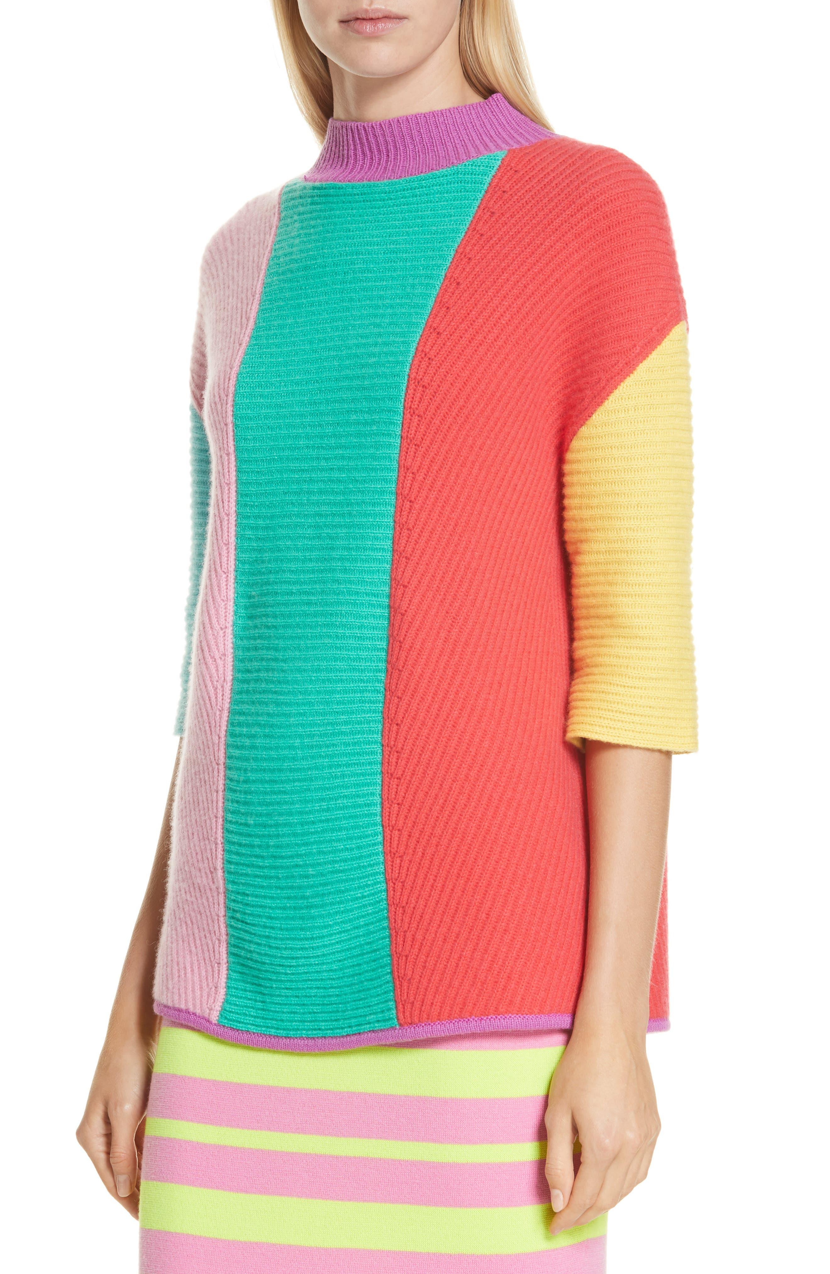 Stripe Short Sleeve Cashmere Sweater,                             Alternate thumbnail 4, color,                             MULTI