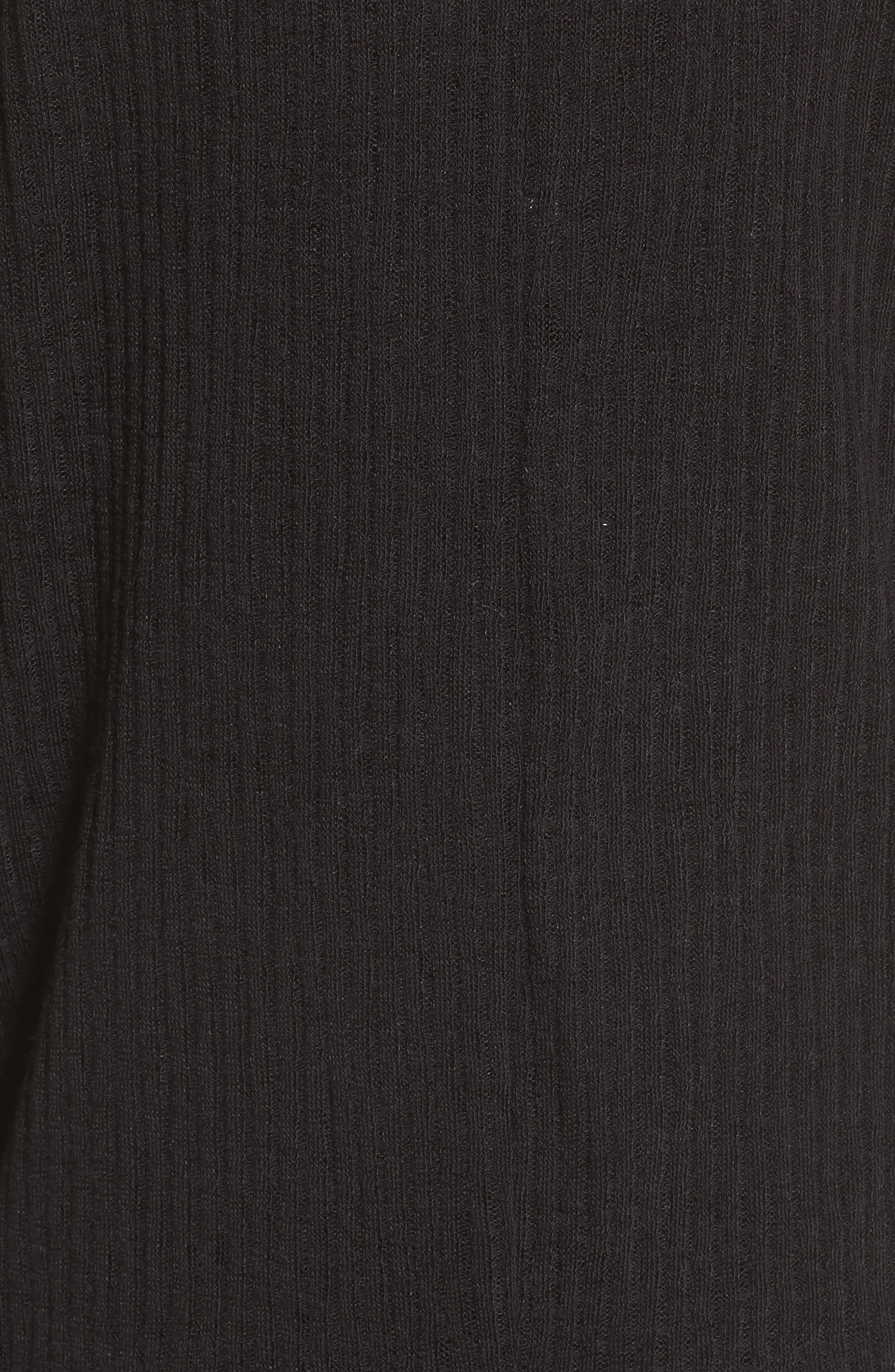 Ribbed Knit Cardigan,                             Alternate thumbnail 5, color,                             001