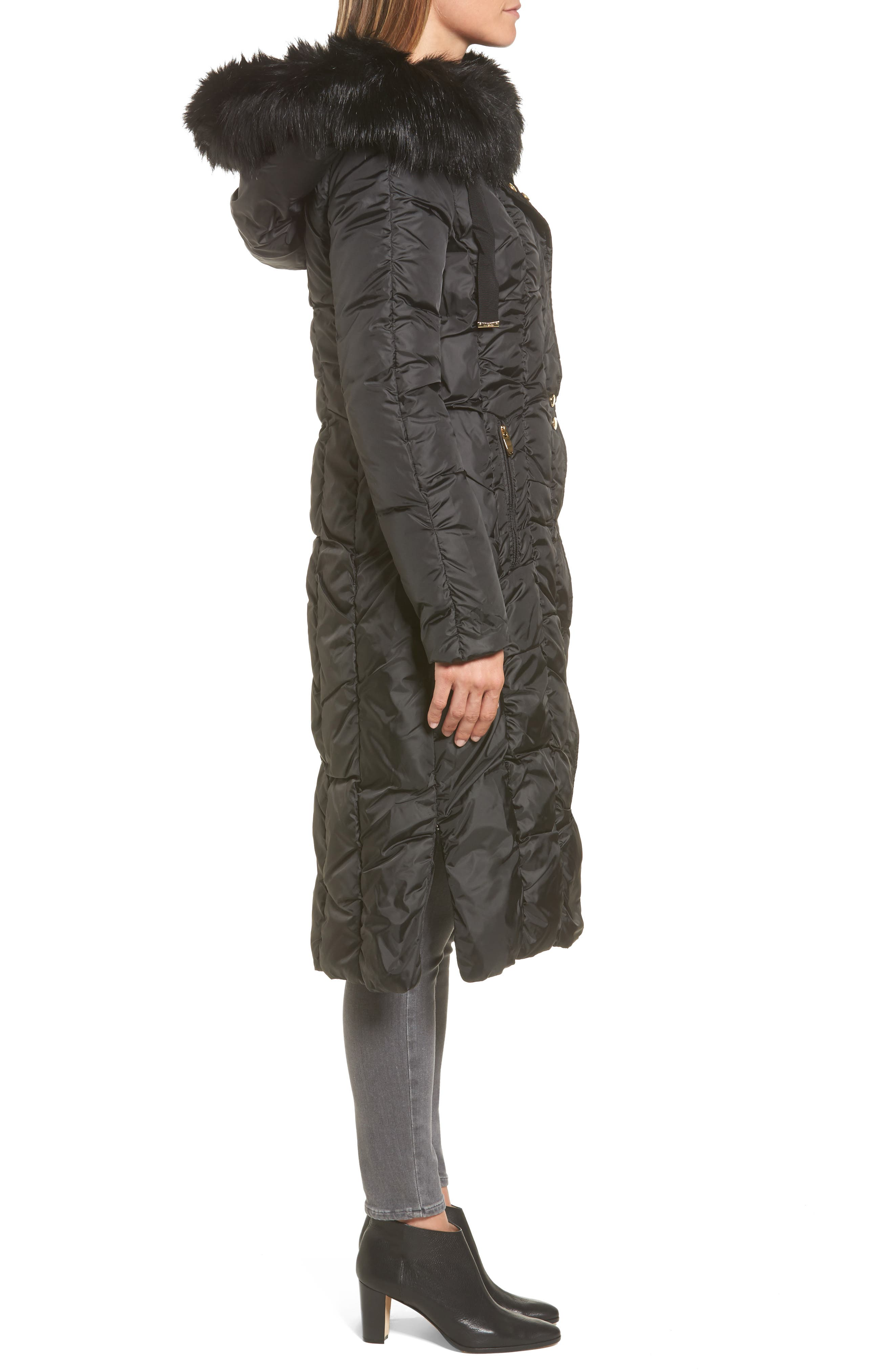 Long Faux Fur Trim Coat,                             Alternate thumbnail 3, color,                             001