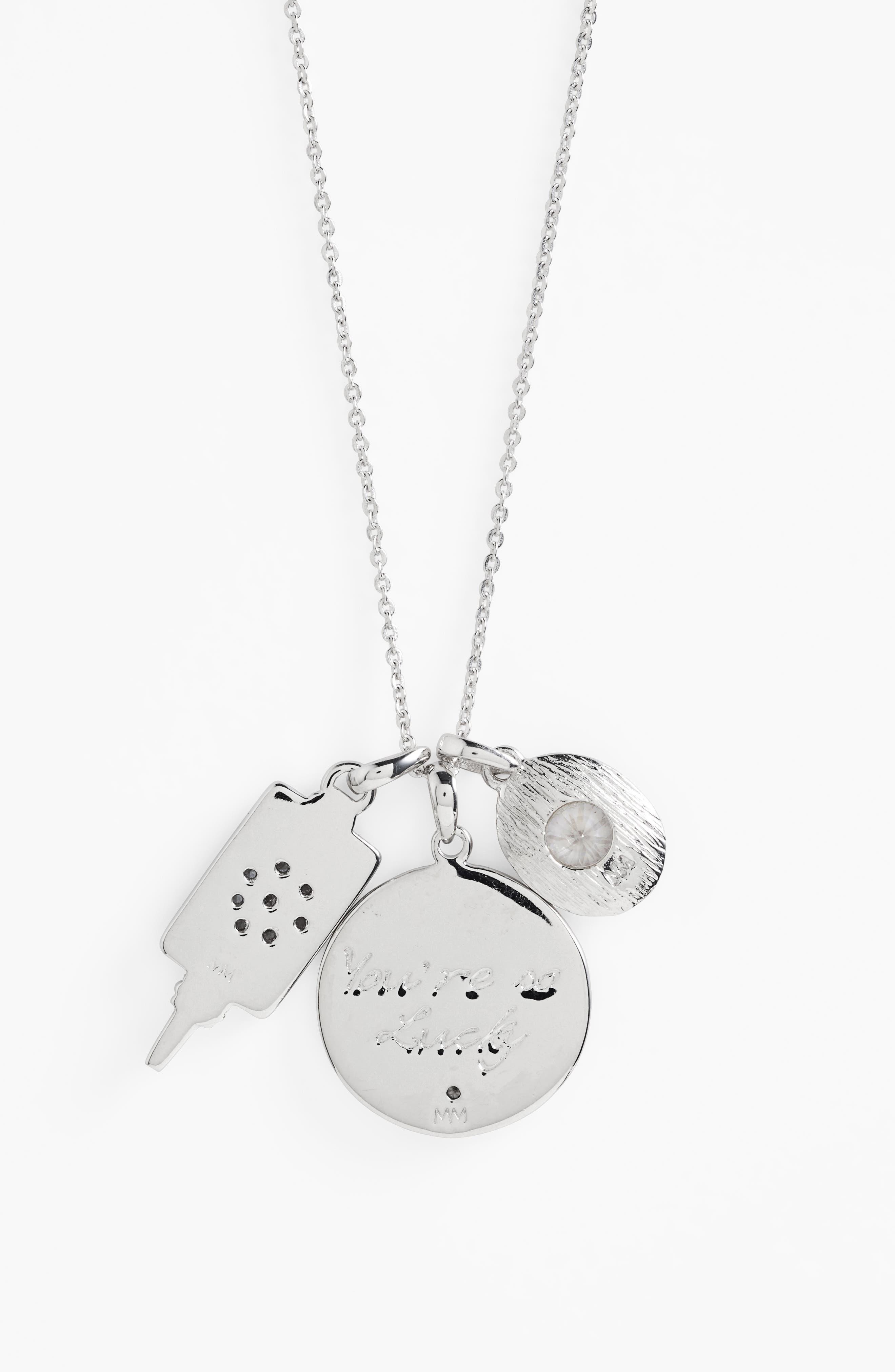 Goddess of Good Fortune Cluster Pendant Necklace,                             Alternate thumbnail 2, color,                             040