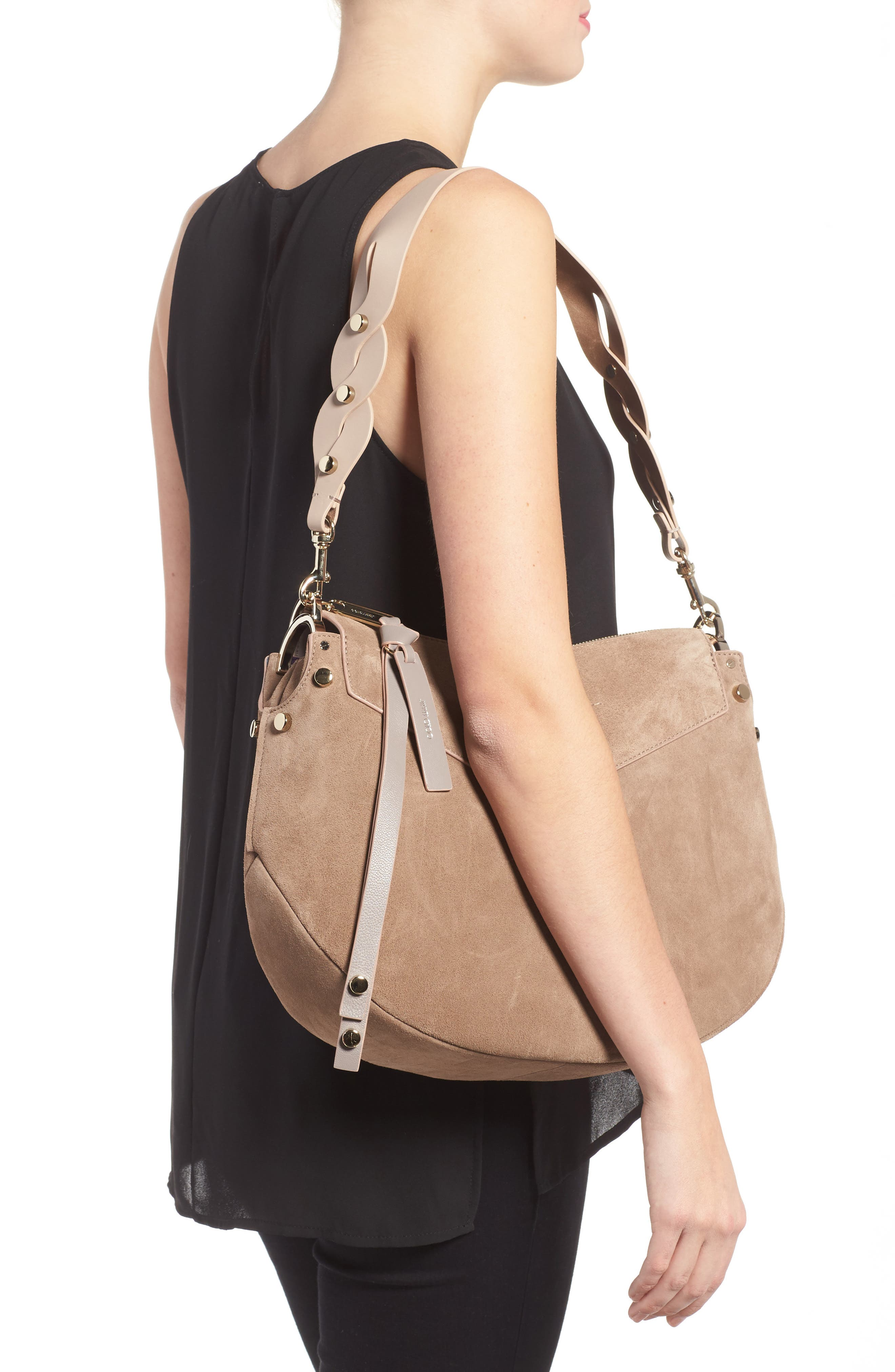 Artie Suede Hobo Bag,                             Alternate thumbnail 6, color,