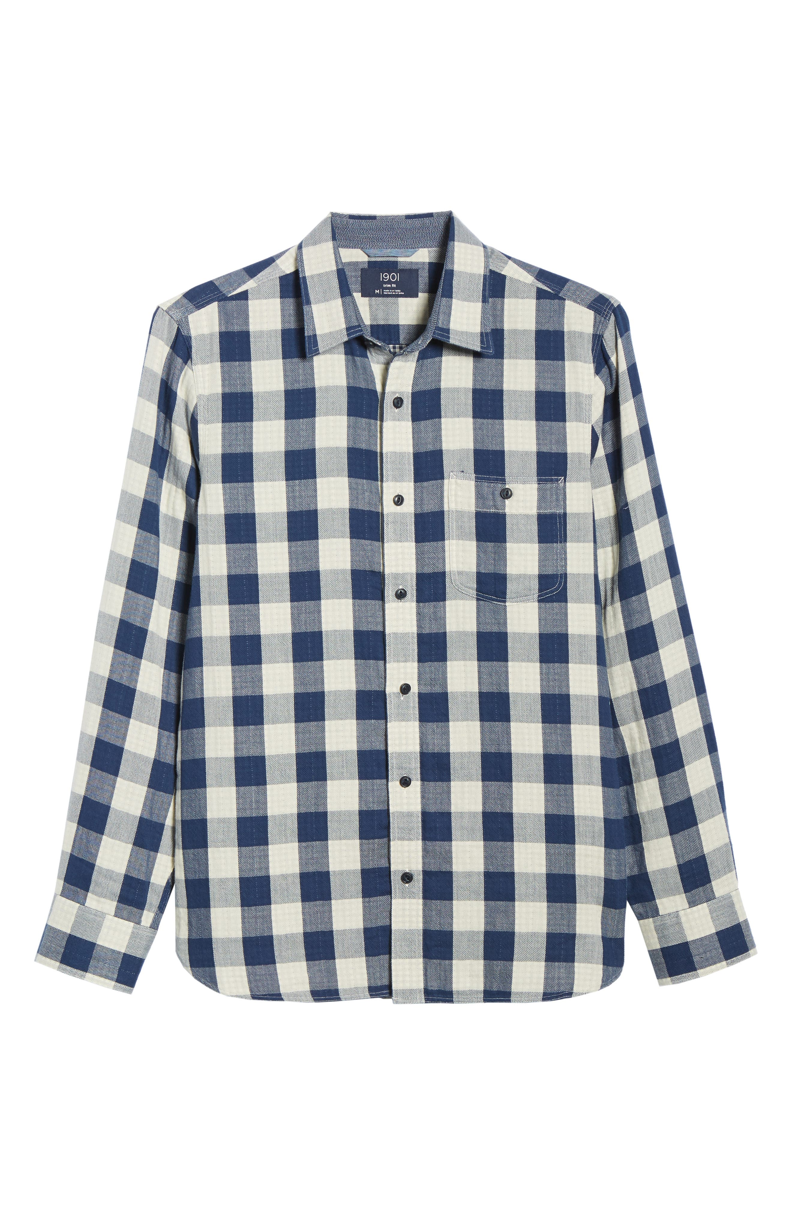 Utility Trim Fit Duofold Sport Shirt,                             Alternate thumbnail 5, color,                             NAVY WHITE BUFFALO GINGHAM