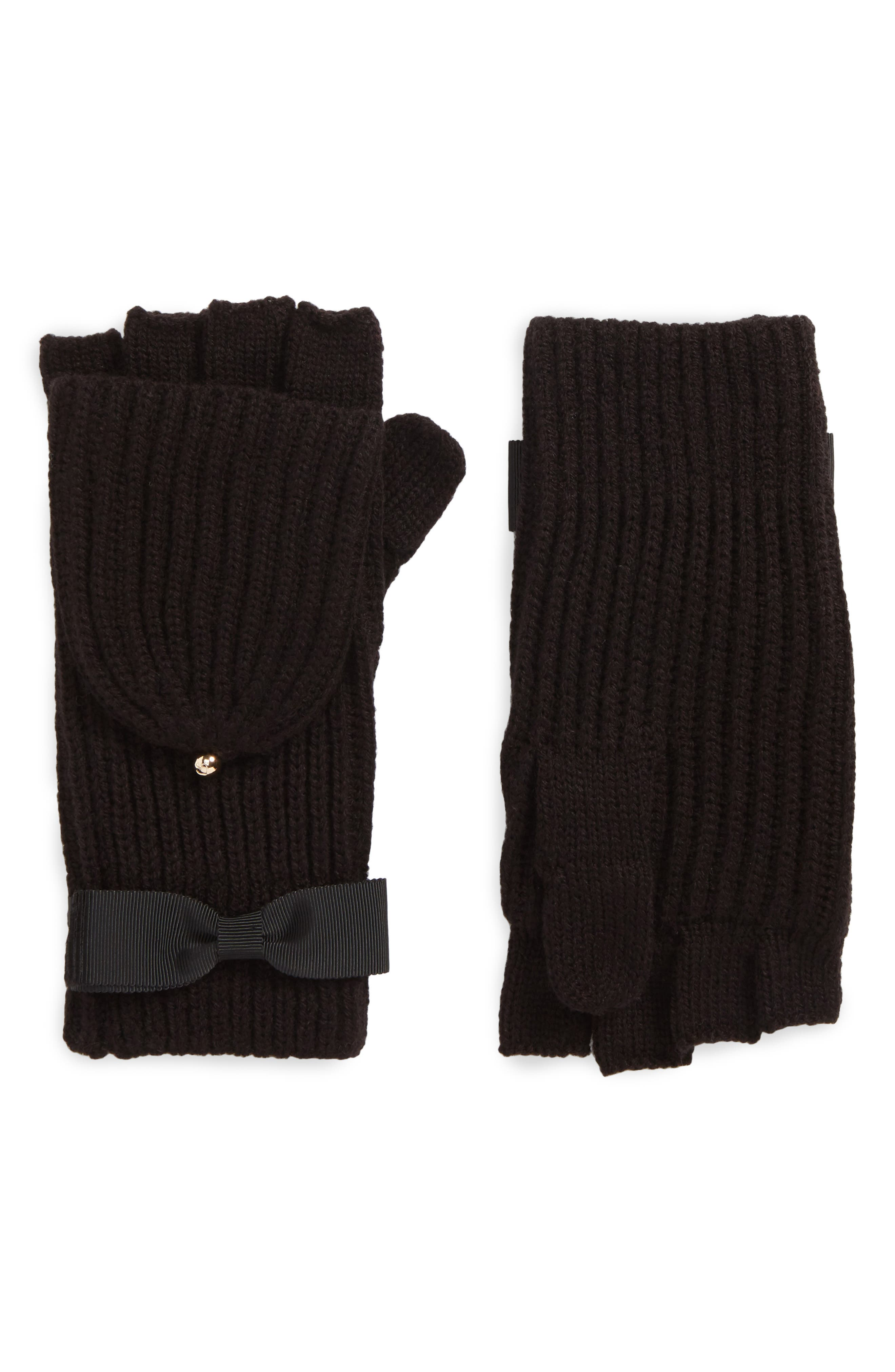 grosgrain bow convertible knit mittens,                             Main thumbnail 1, color,                             001