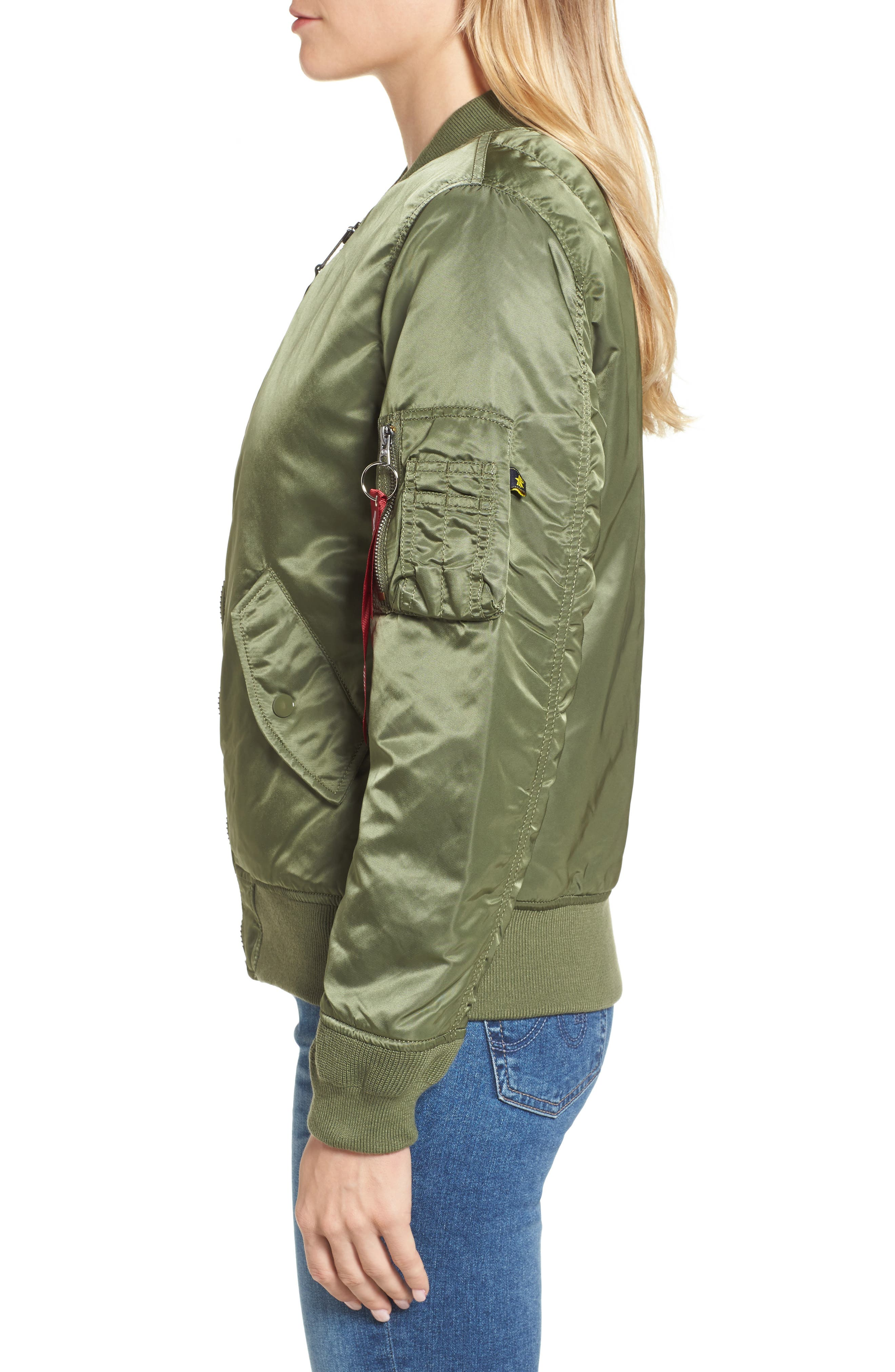 ALPHA INDUSTRIES,                             MA-1 W Bomber Jacket,                             Alternate thumbnail 4, color,                             SAGE GREEN