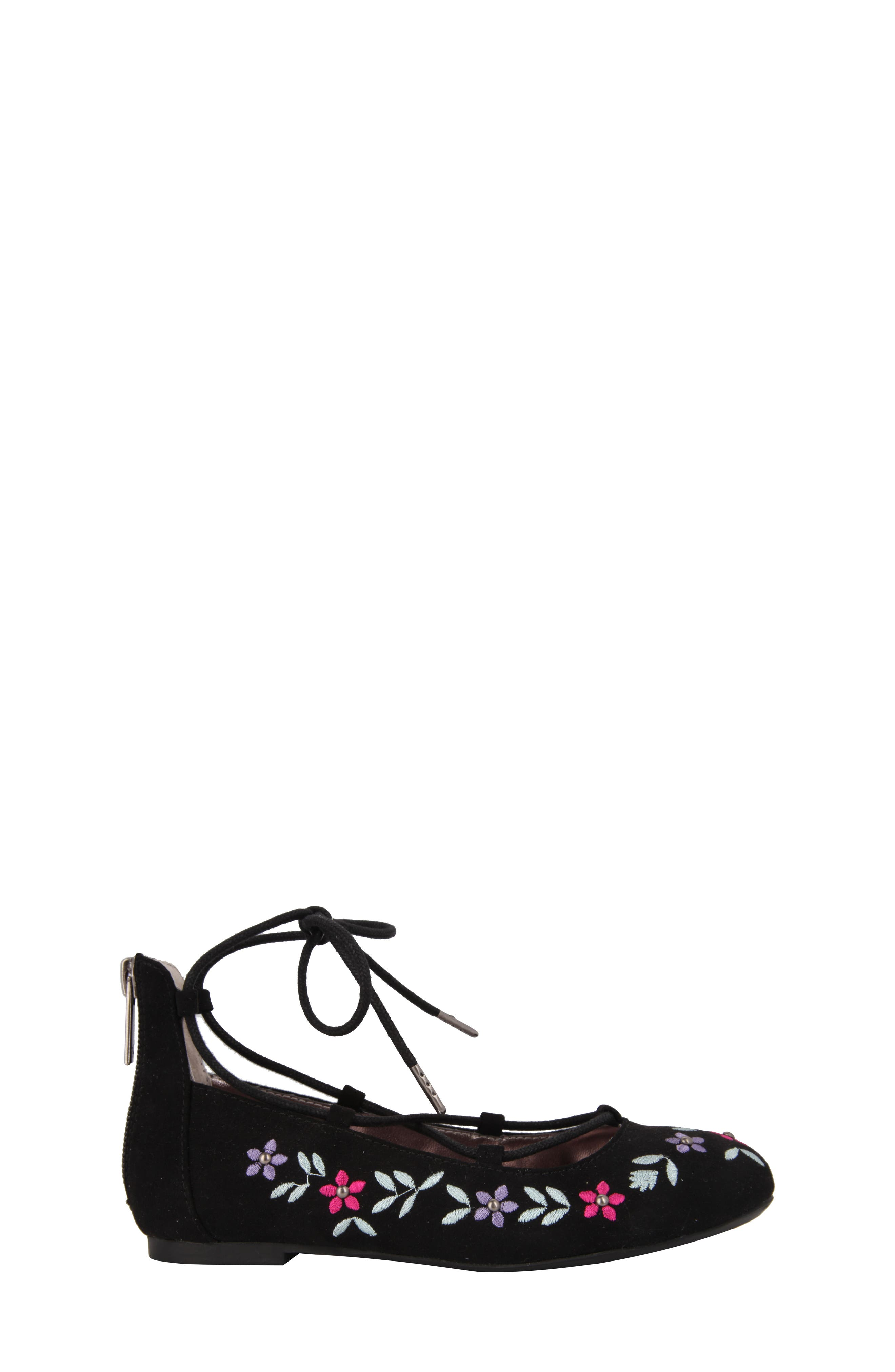Nelly Embroidered Ghillie Flat,                             Alternate thumbnail 3, color,                             003