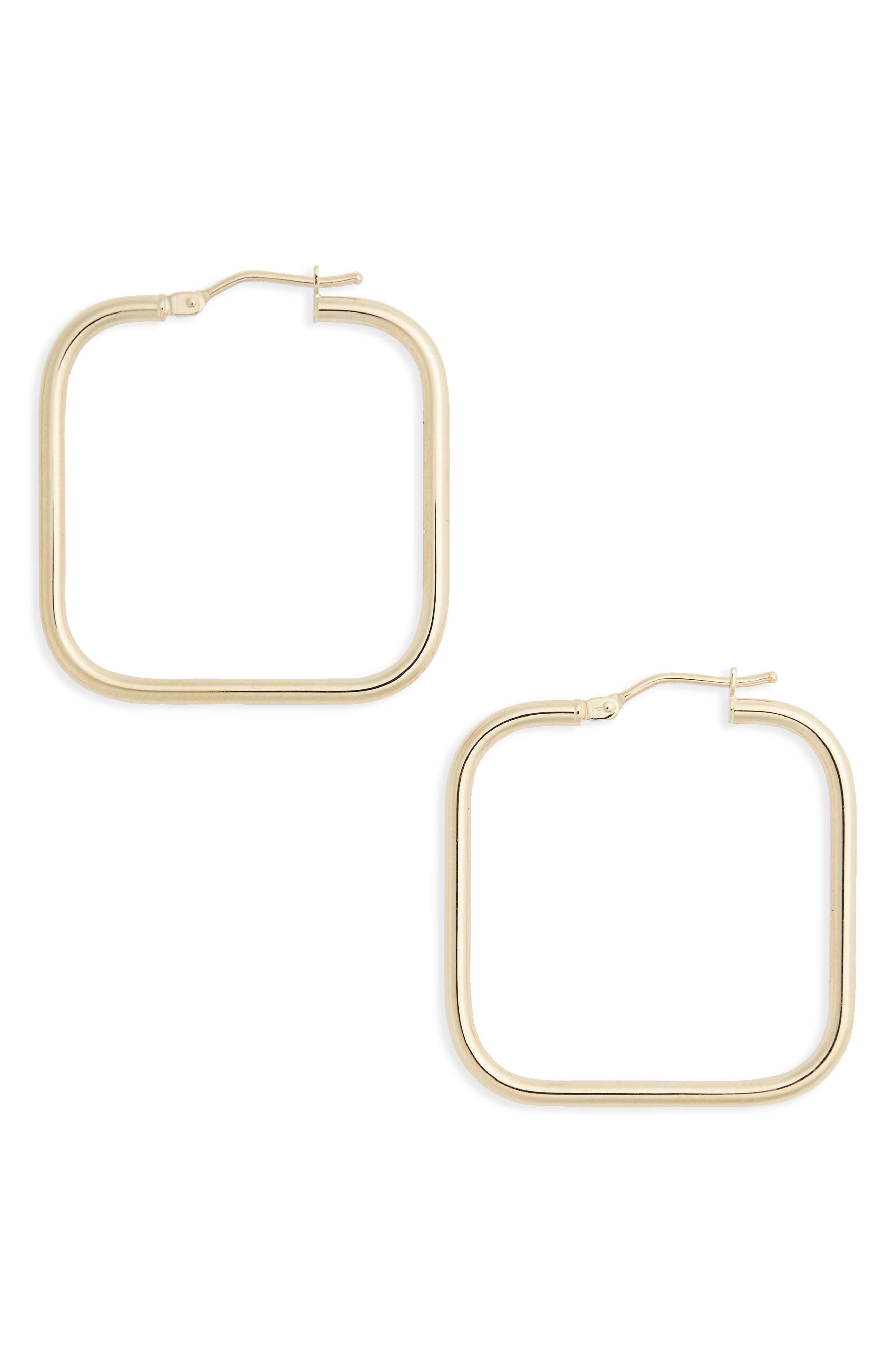 Square Hoop Earrings,                         Main,                         color, YELLOW GOLD