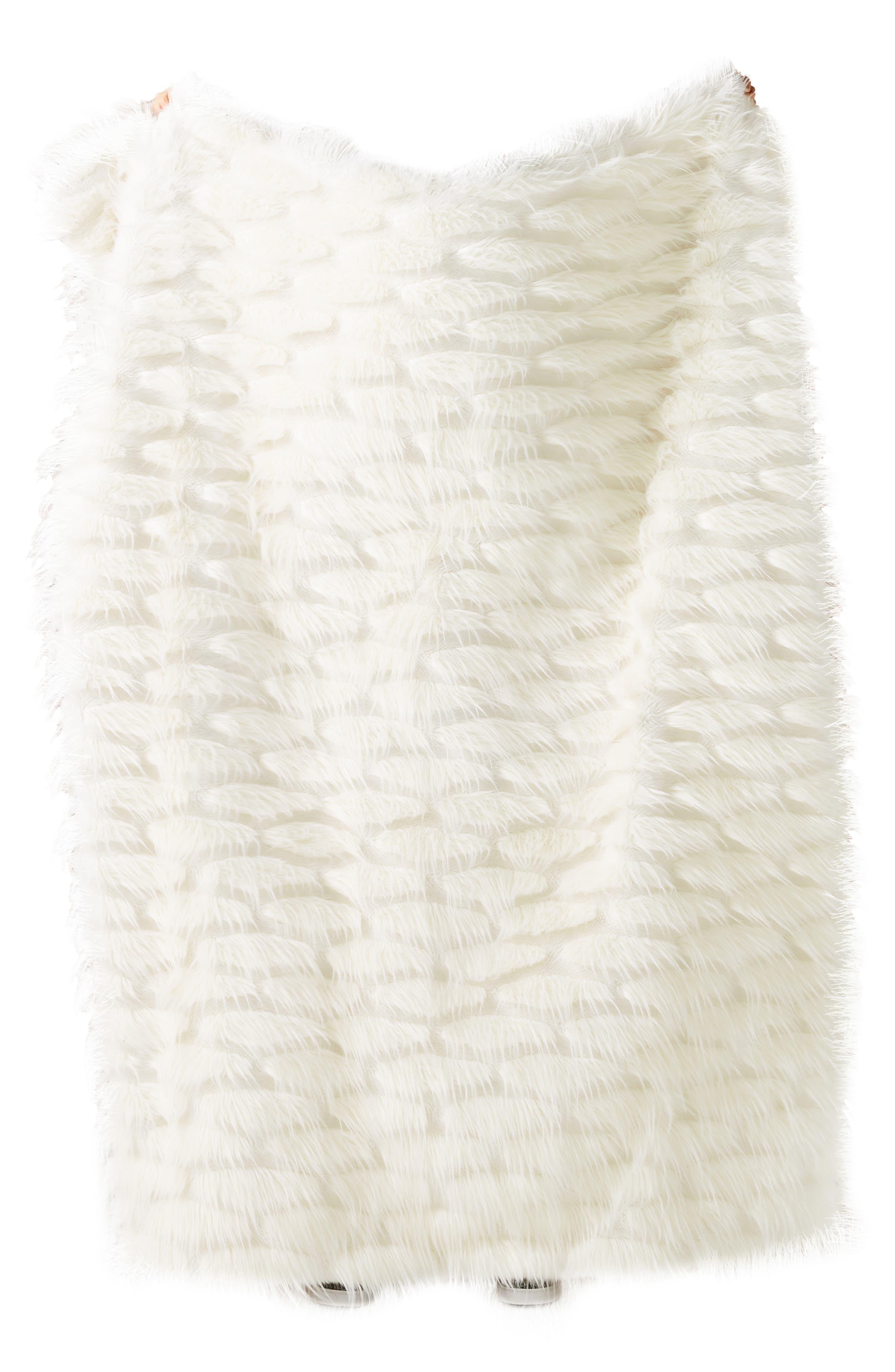ANTHROPOLOGIE,                             Faux Fur Throw Blanket,                             Alternate thumbnail 3, color,                             WHITE