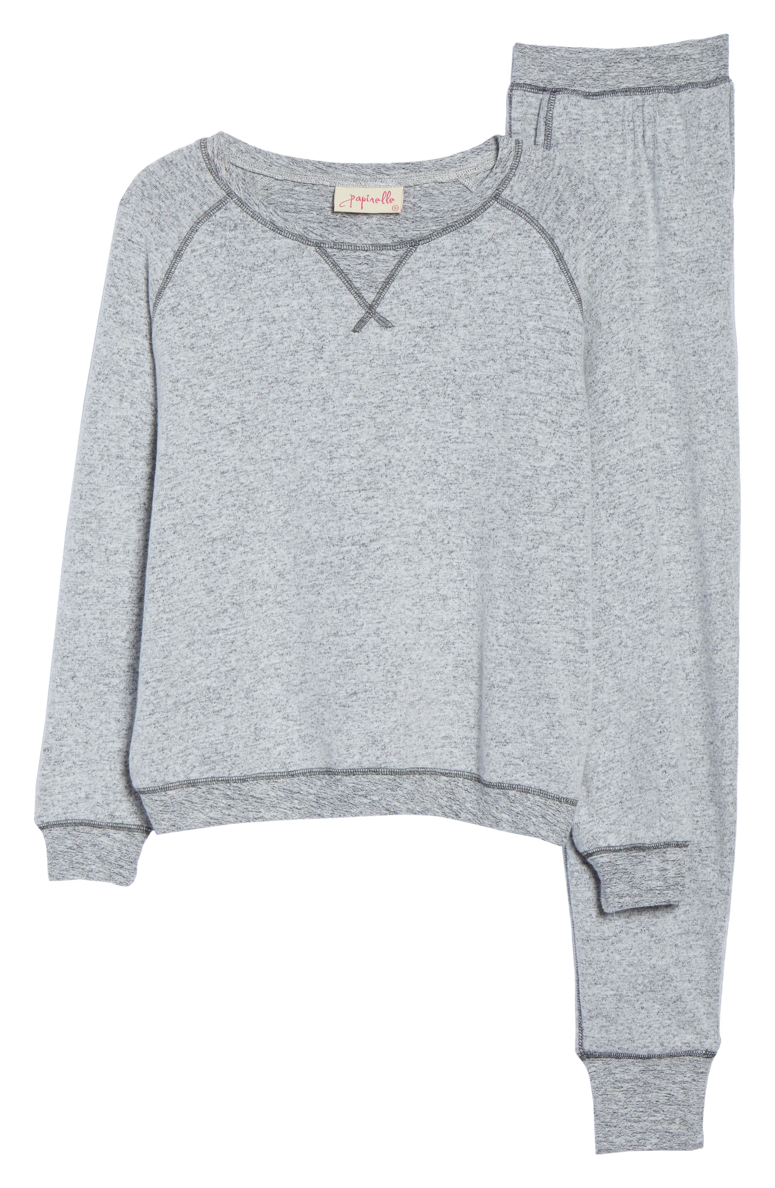 So Soft Knit Pajamas,                             Alternate thumbnail 6, color,                             CHARCOAL MARL
