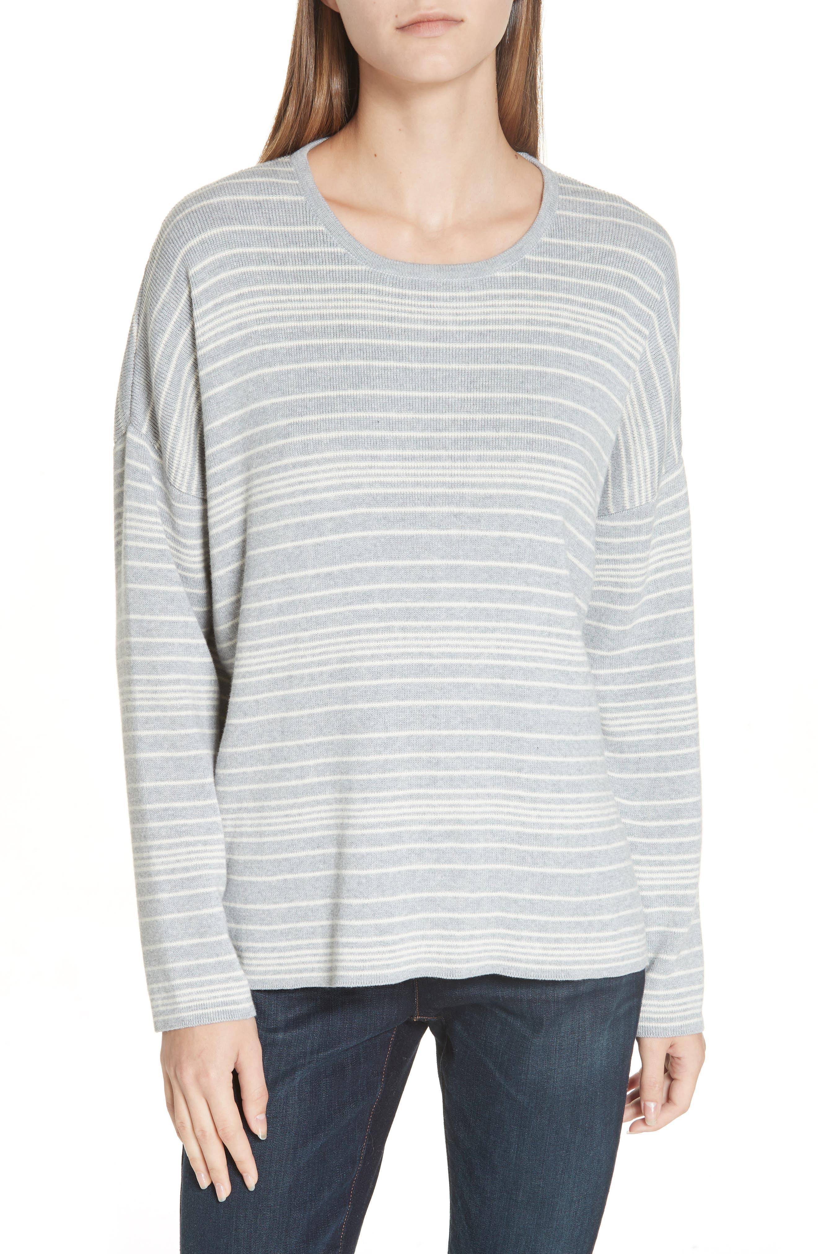 Stripe Organic Cotton Sweater,                             Main thumbnail 1, color,                             038