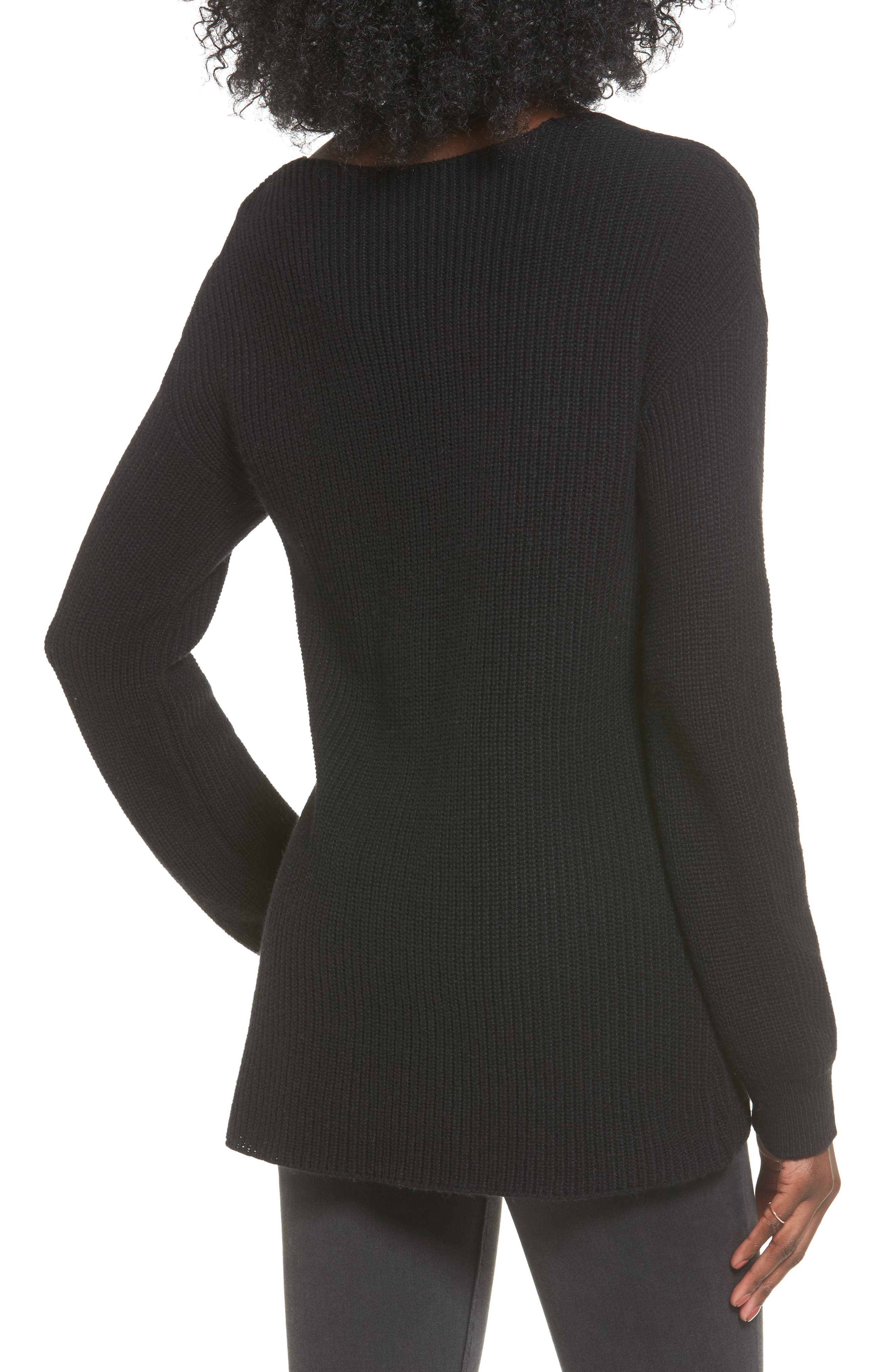 V-Neck Sweater,                             Alternate thumbnail 2, color,                             001
