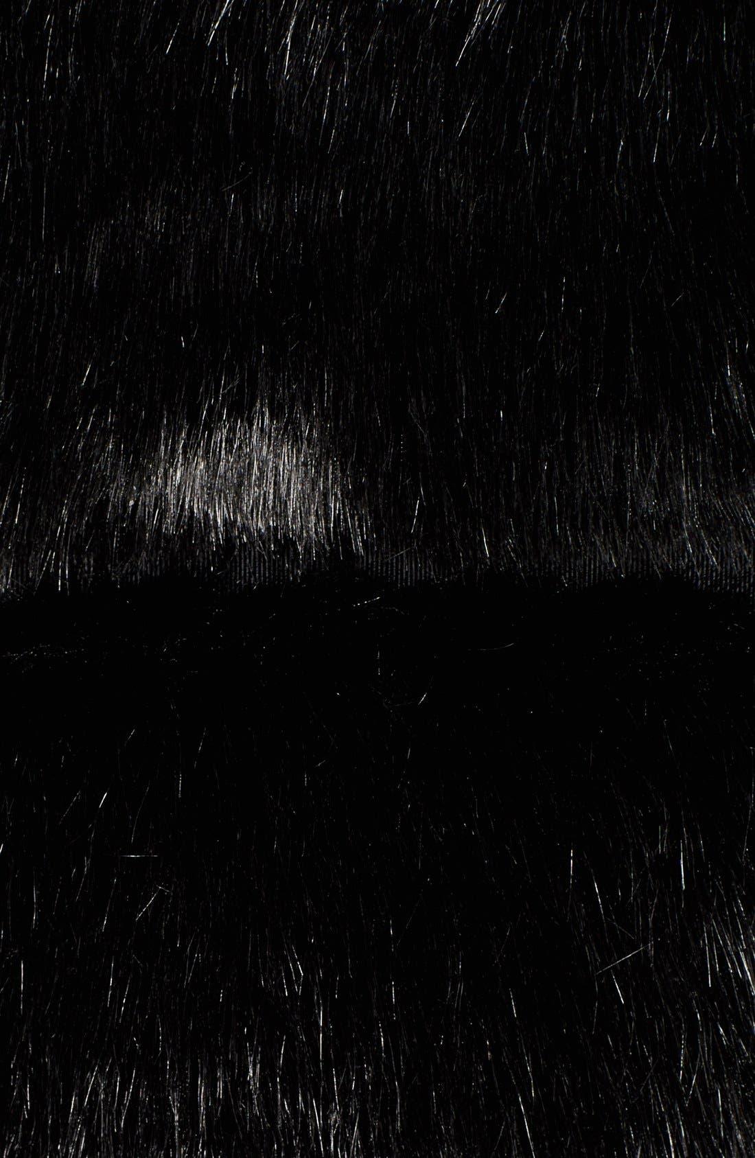 grooved faux fur coat,                             Alternate thumbnail 5, color,                             001