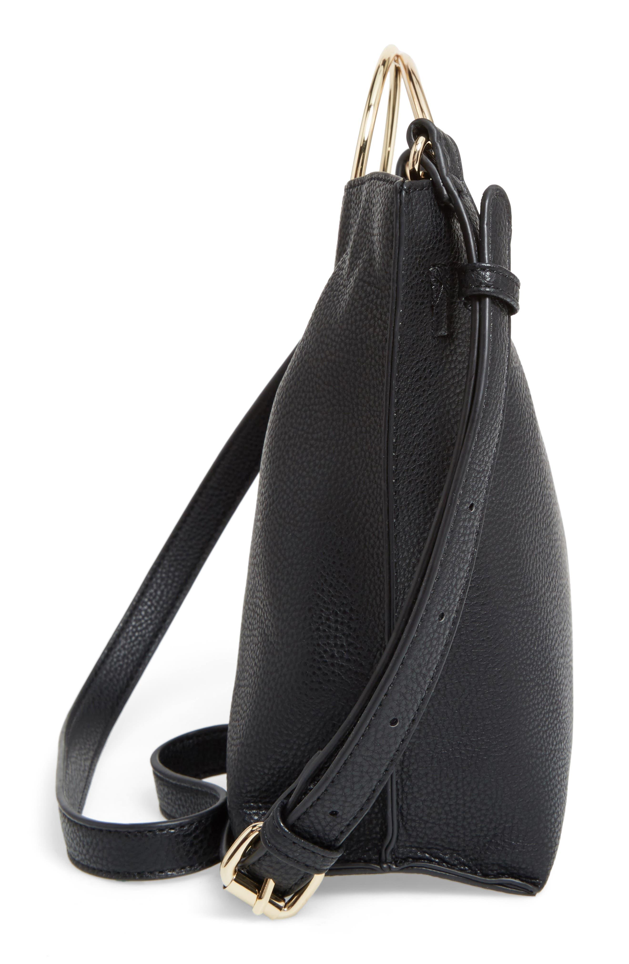 Metal Handle Faux Leather Crossbody Bag,                             Alternate thumbnail 14, color,