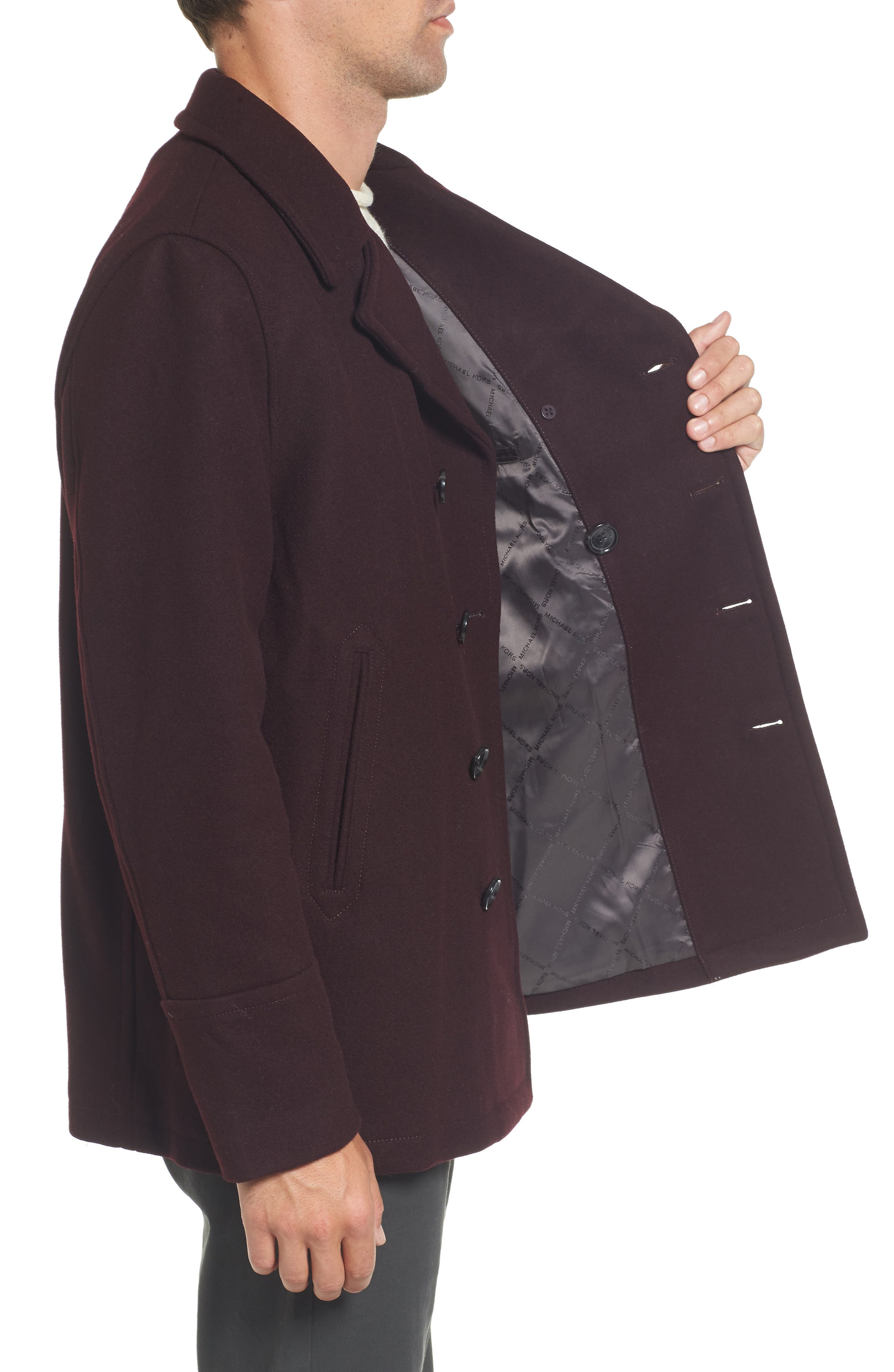 Wool Blend Double Breasted Peacoat,                             Alternate thumbnail 36, color,