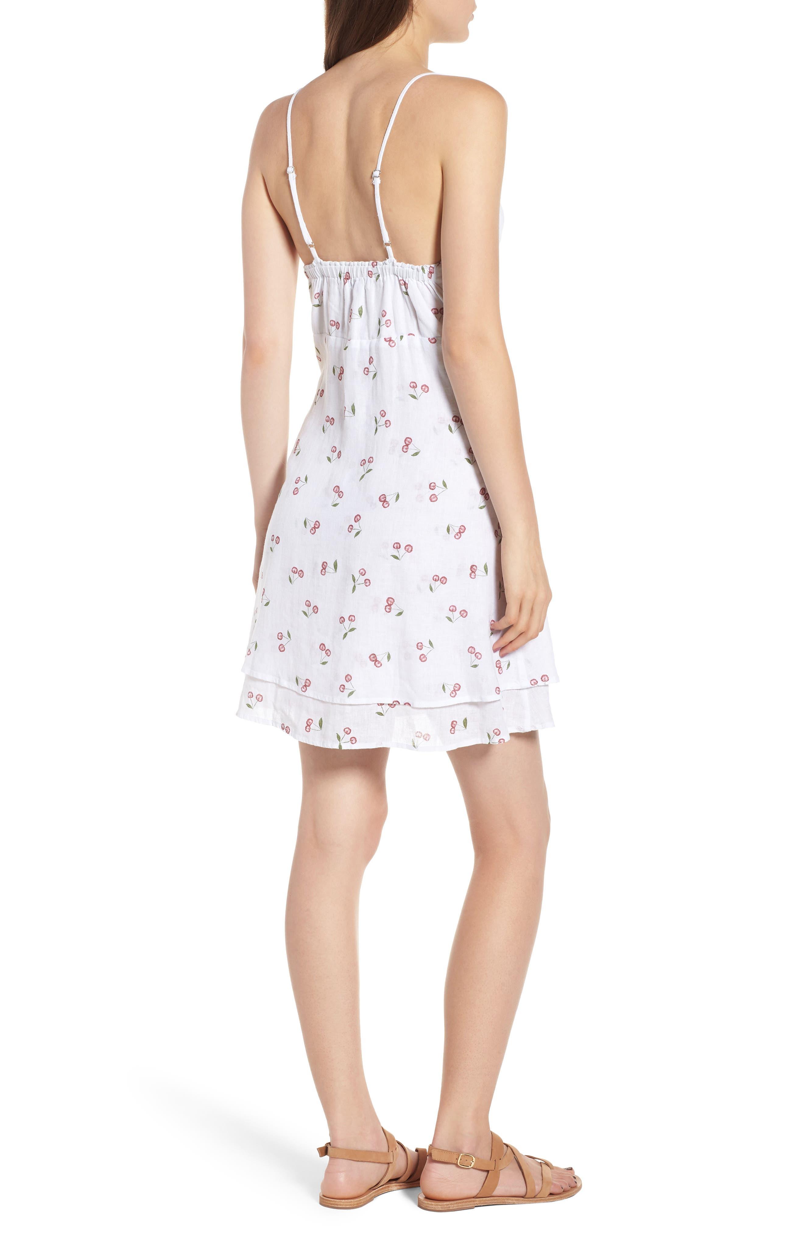 August Daisy Tie Front Dress,                             Alternate thumbnail 2, color,                             WHITE CHERRIES