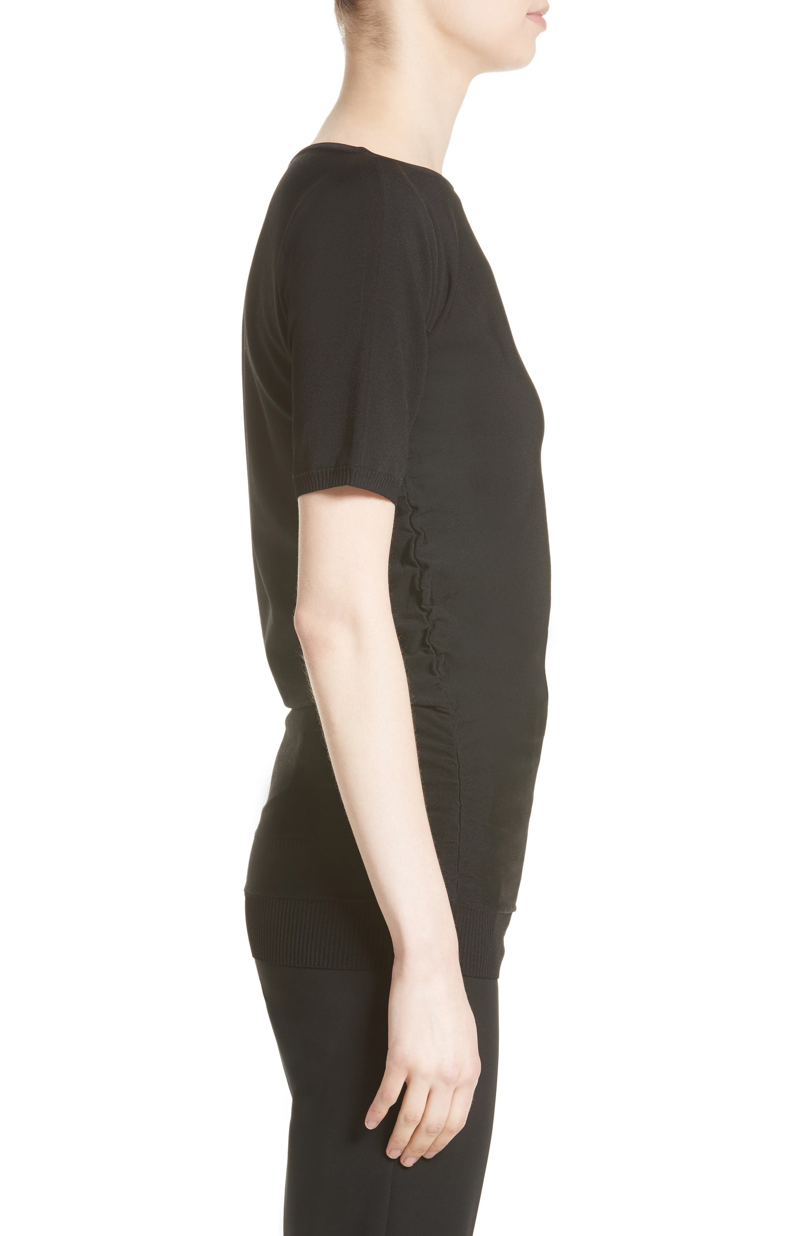 Joice Ruched Knit Top,                             Alternate thumbnail 3, color,                             001