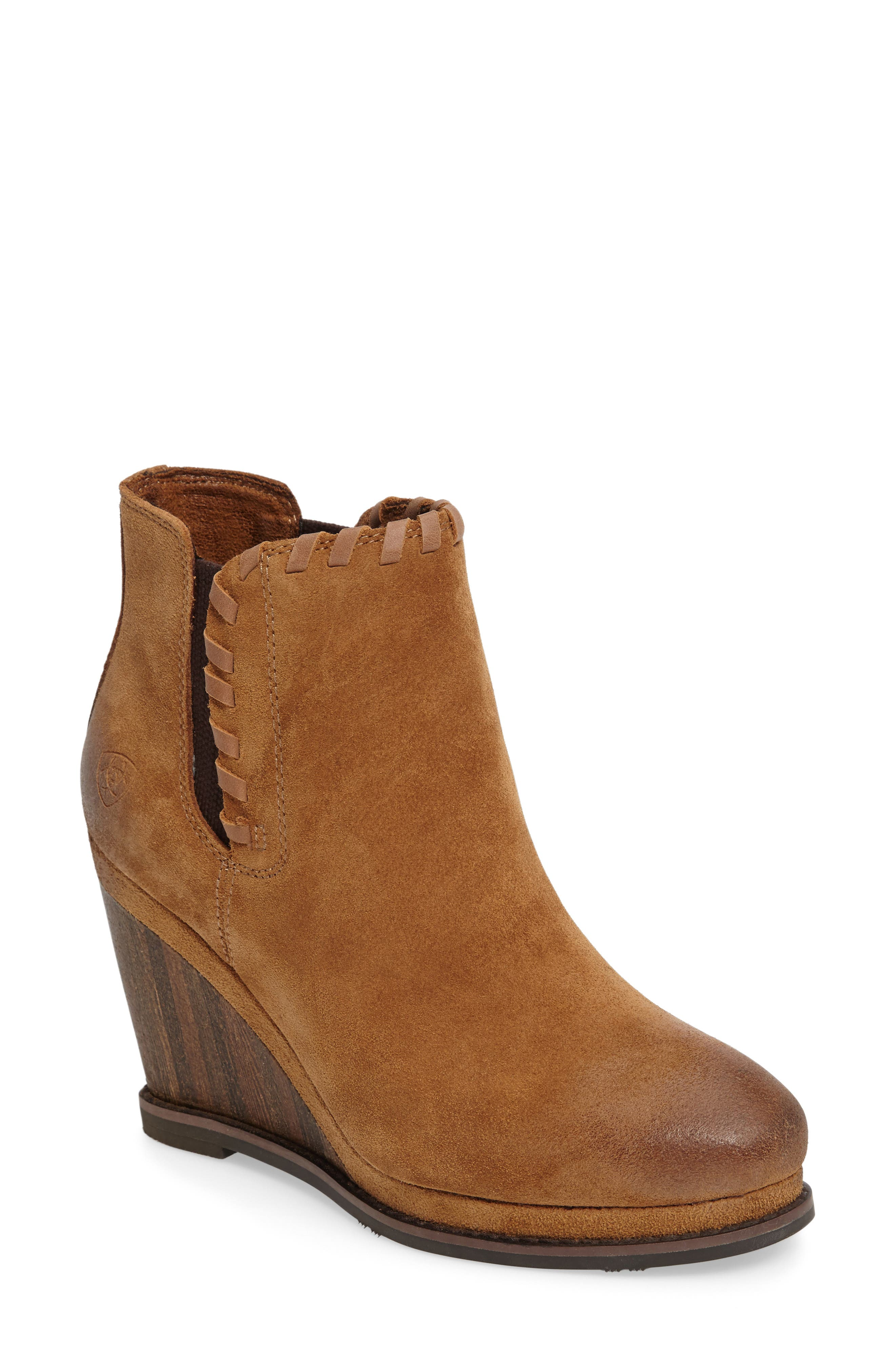 Belle Wedge Bootie,                             Main thumbnail 1, color,                             SAND LEATHER
