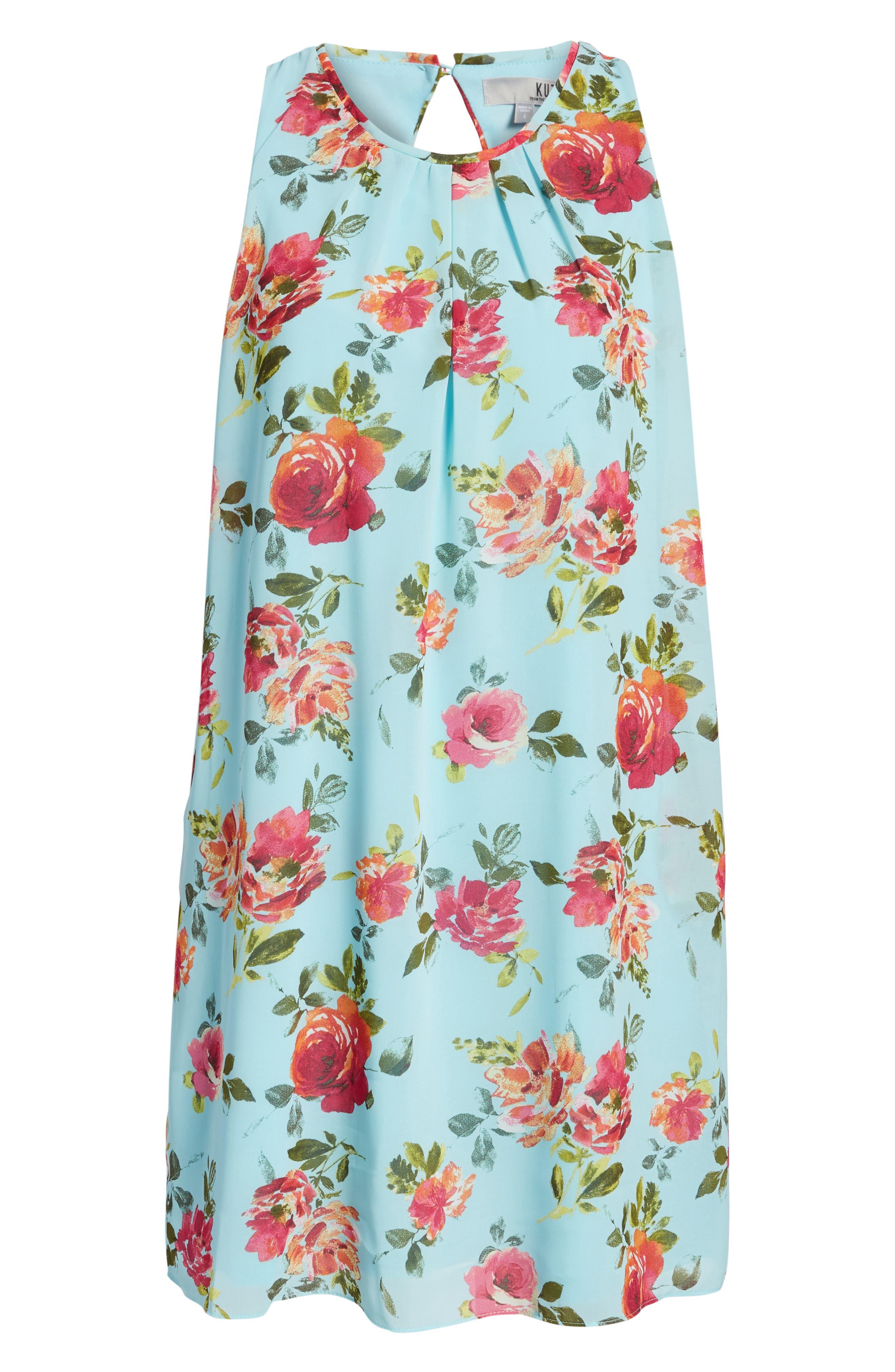 Sela Shift Floral Dress,                             Alternate thumbnail 6, color,                             425