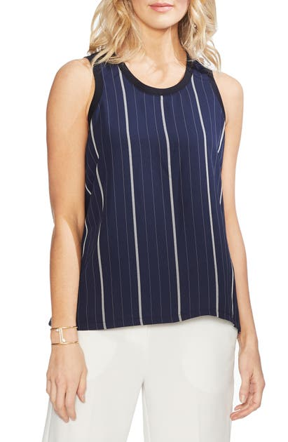 Vince Camuto Tops STRIPED MIXED MEDIA TANK