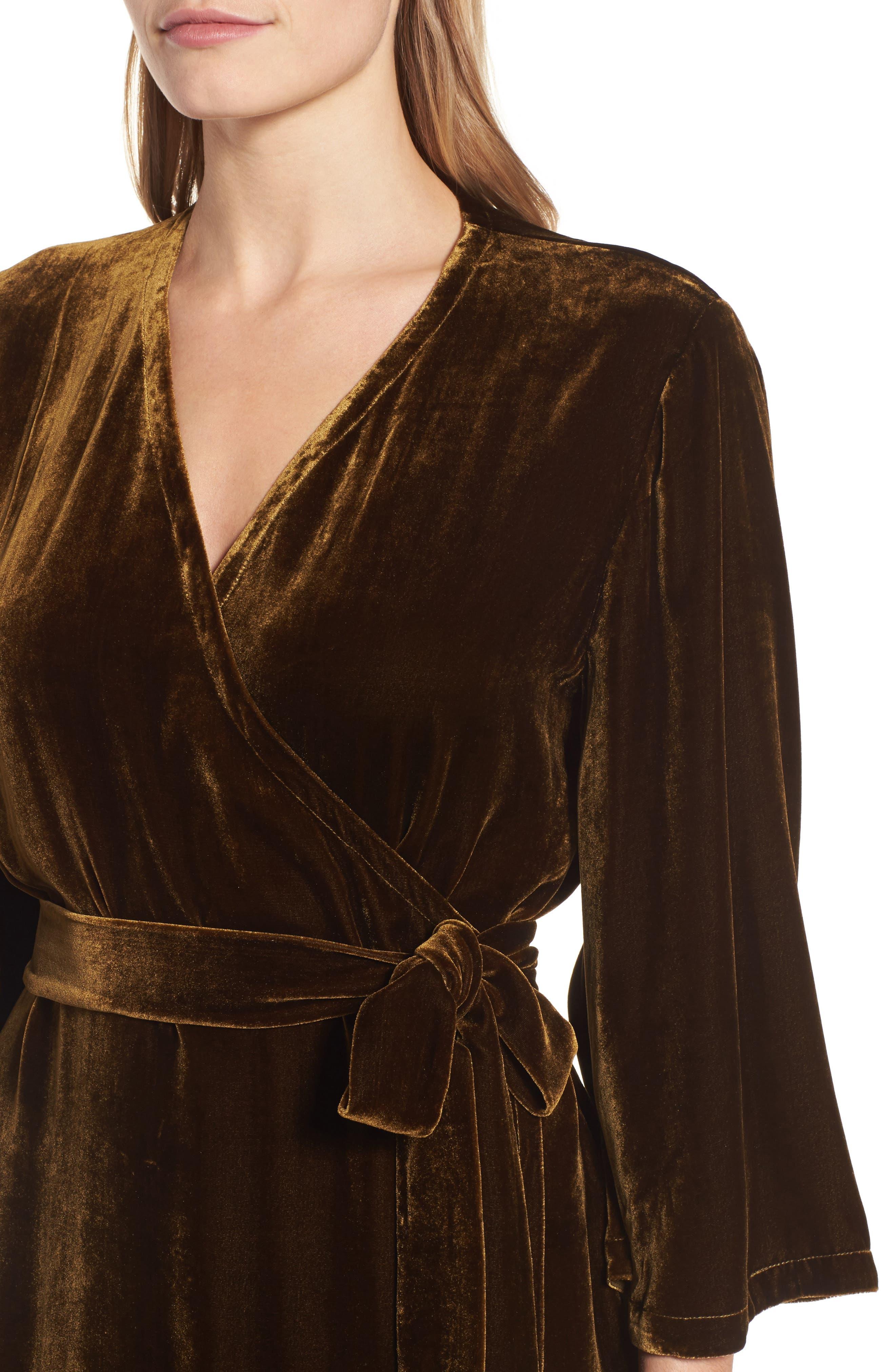 Velvet Wrap Dress,                             Alternate thumbnail 11, color,