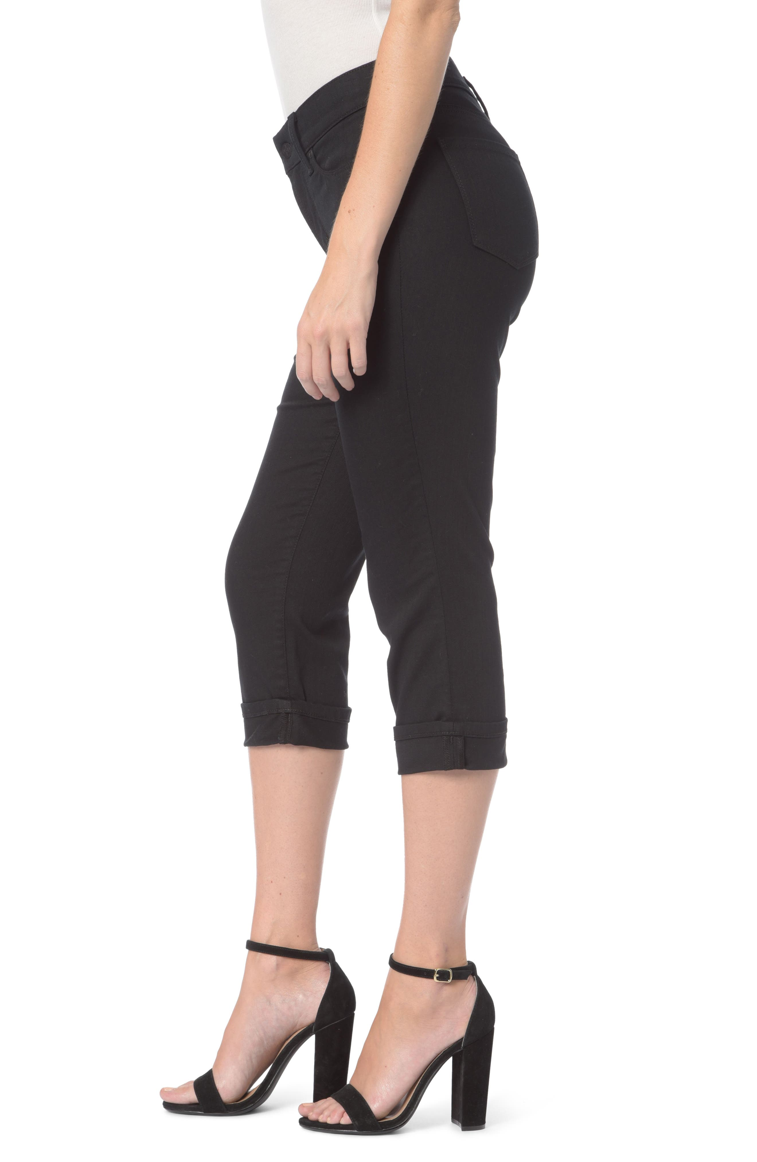 Marilyn Stretch Cuffed Crop Jeans,                             Alternate thumbnail 3, color,                             001