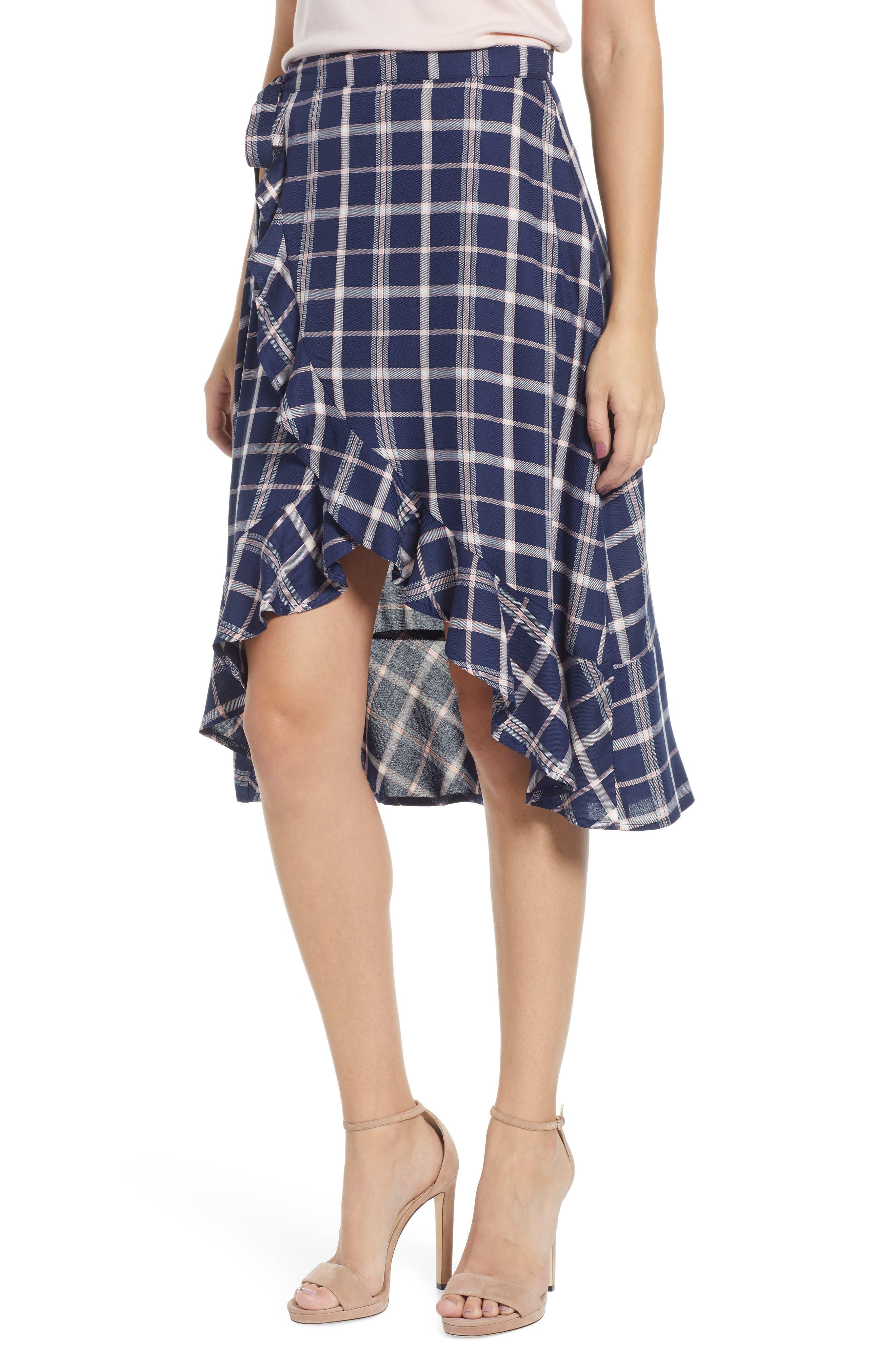 SOMEDAYS LOVIN Plaid Ruffle Wrap Skirt, Main, color, NAVY