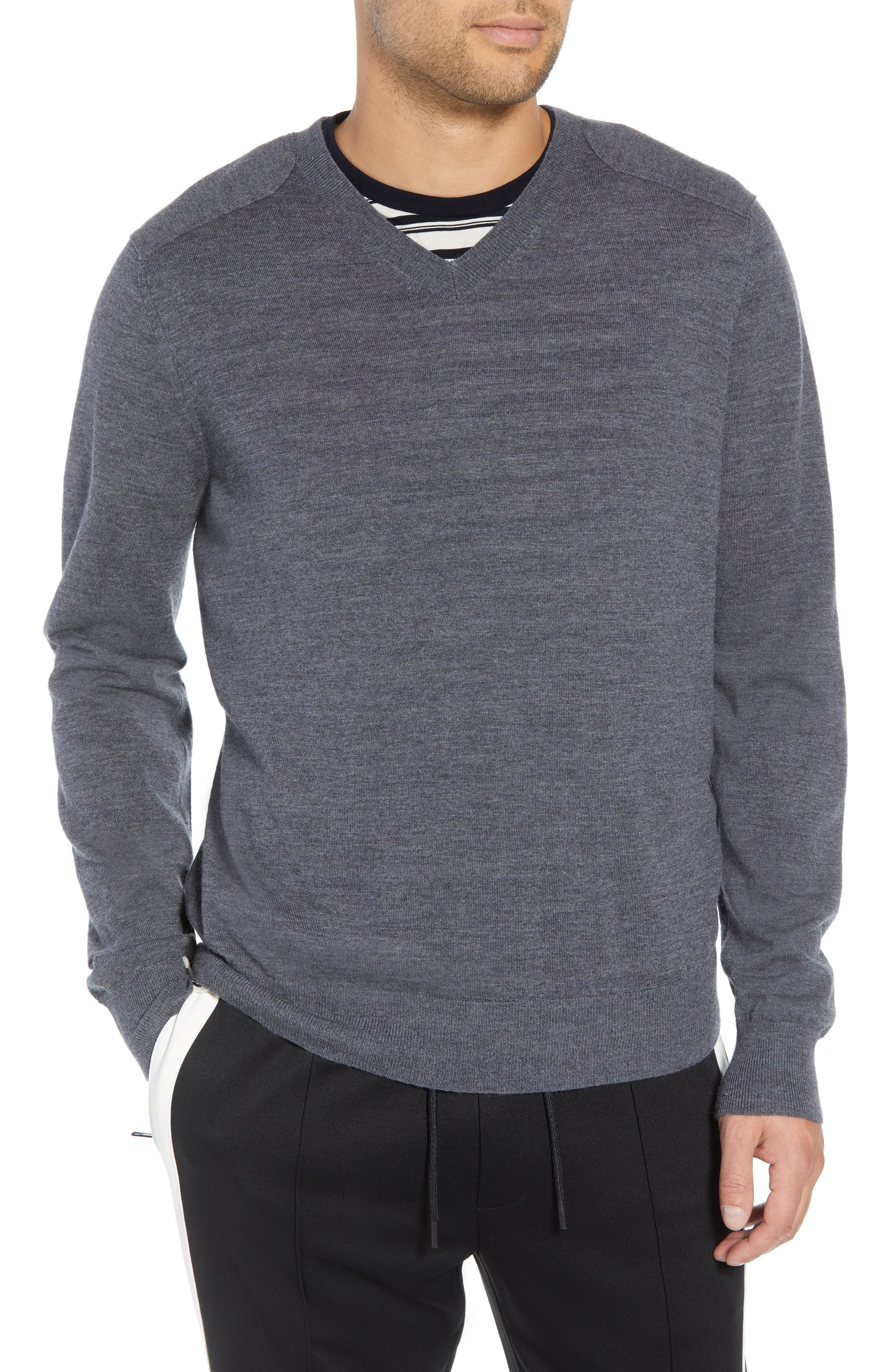 Regular Fit Elbow Patch Merino Wool Sweater,                         Main,                         color, 020