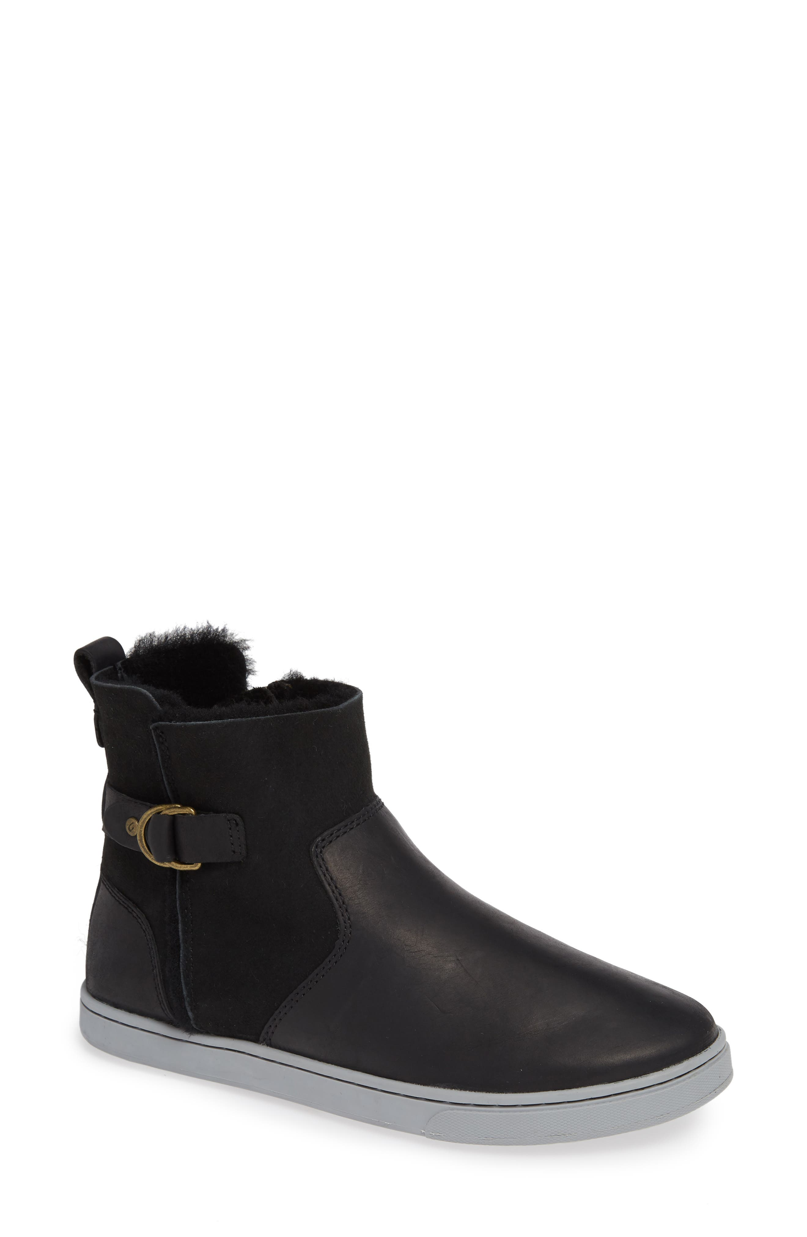 Pehuea Pa'I Genuine Shearling Sneaker Boot, Main, color, BLACK/ BLACK LEATHER