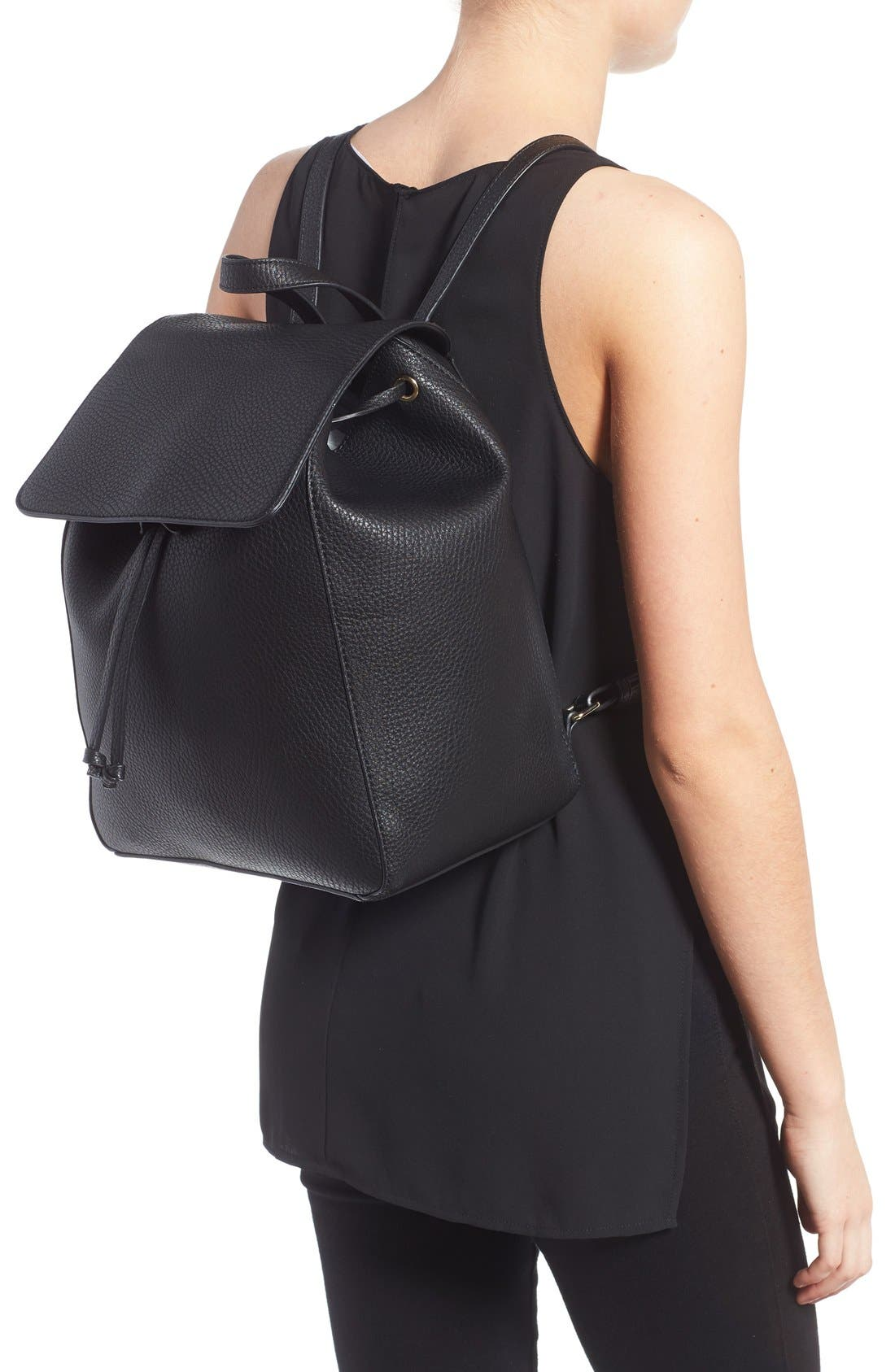 SOLE SOCIETY,                             'Iver' Faux Leather Drawstring Backpack,                             Alternate thumbnail 5, color,                             001