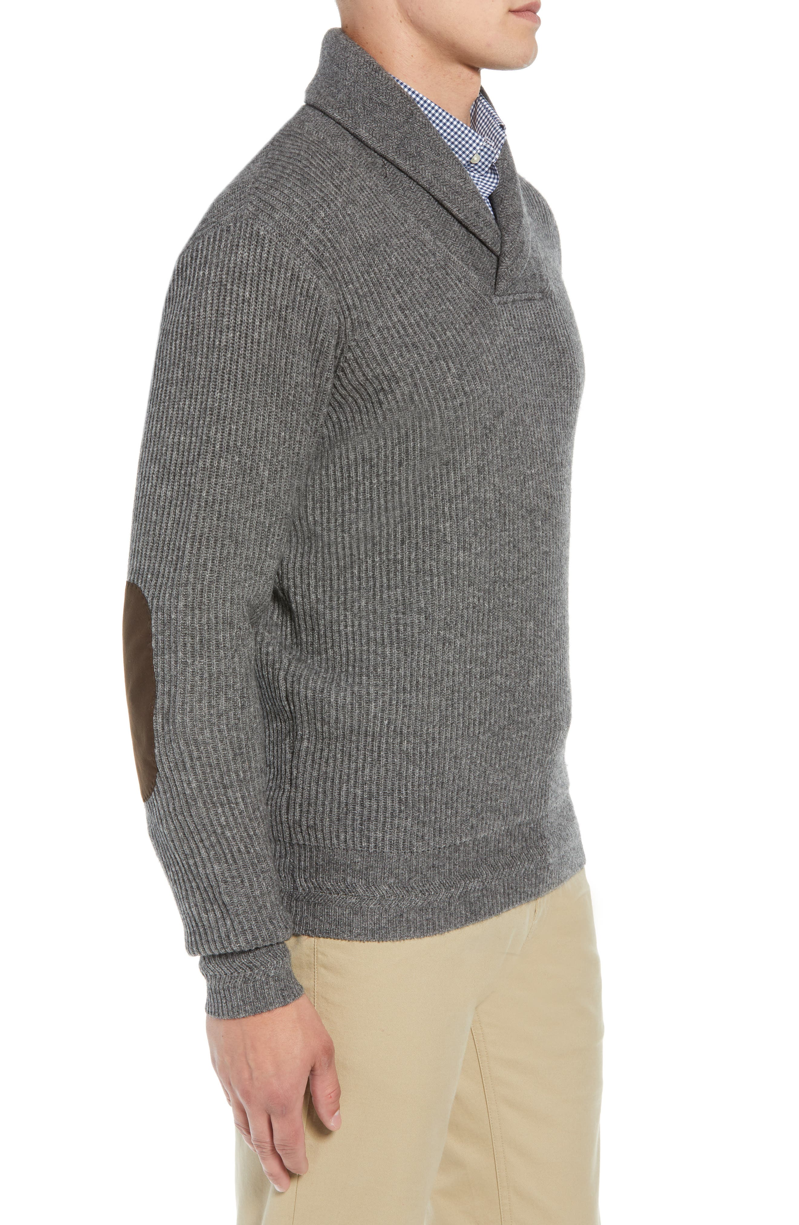 Mountainside Wool Blend Shawl Sweater,                             Alternate thumbnail 3, color,                             GREY