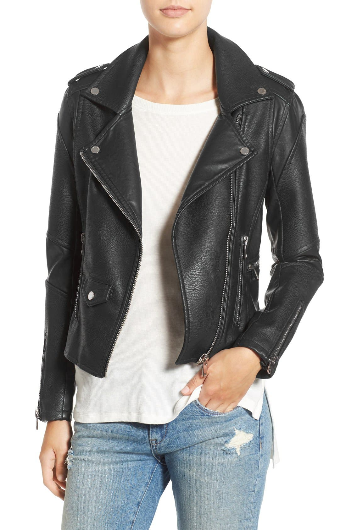 'Easy Rider' Faux Leather Moto Jacket,                             Main thumbnail 1, color,                             001