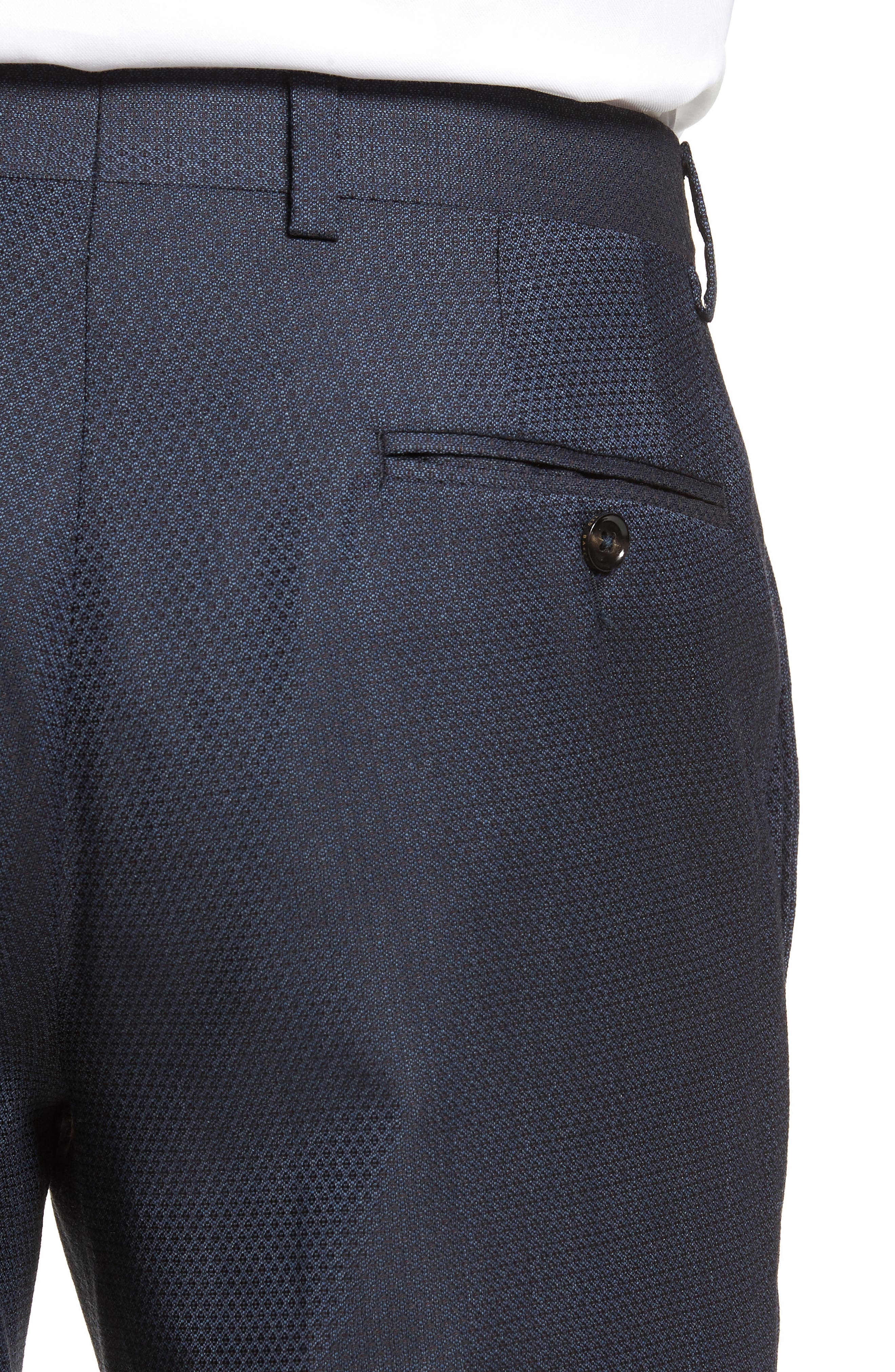 Jefferson Flat Front Solid Wool Trousers,                             Alternate thumbnail 4, color,                             400