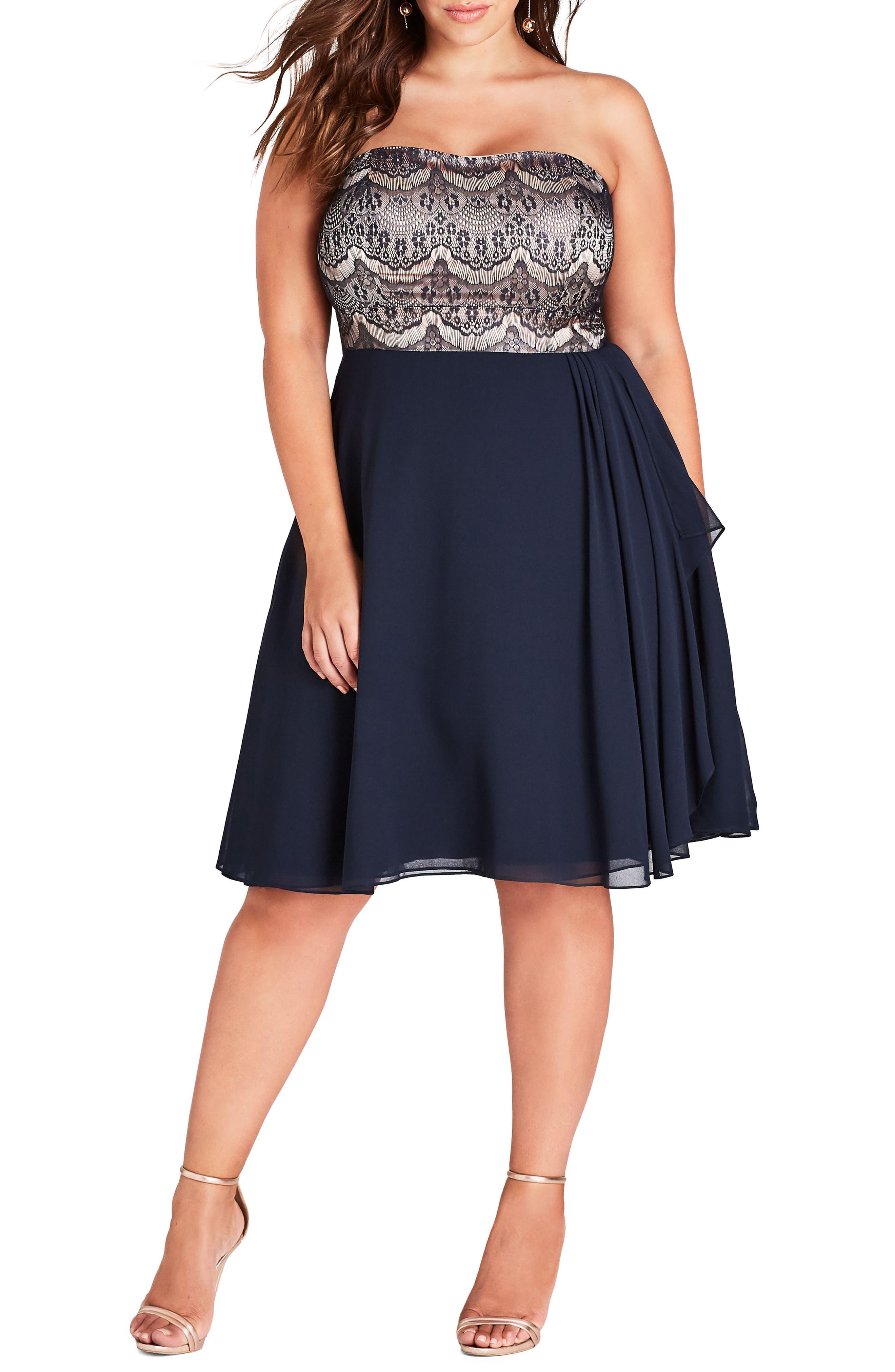 Eyelash Ebony Strapless Fit & Flare Dress,                         Main,                         color, NAVY