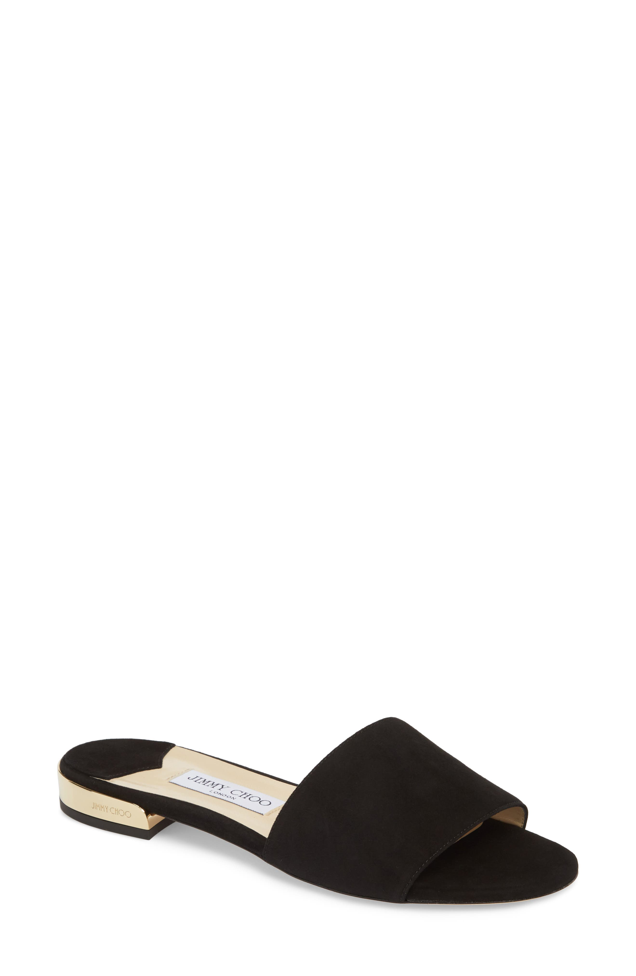 Joni Slide Sandal,                             Main thumbnail 1, color,                             BLACK