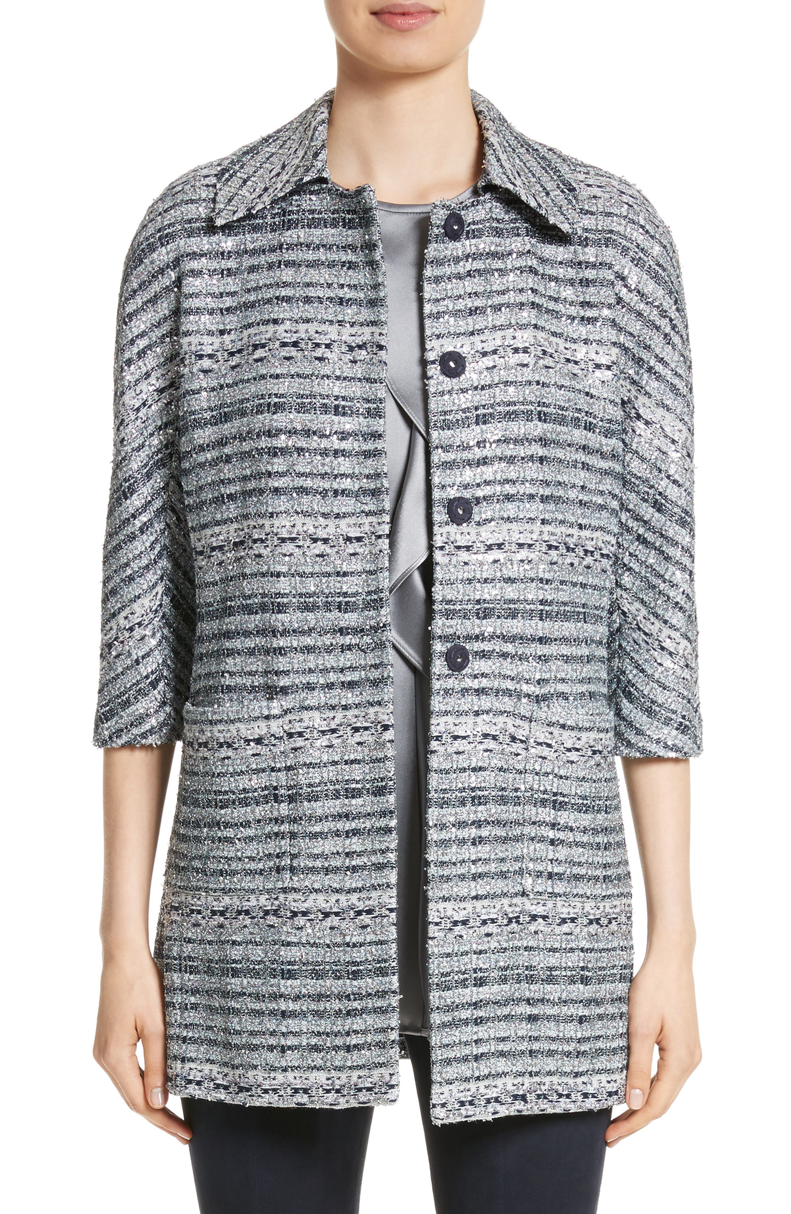 Lacquered Metallic Ribbon Knit Jacket,                         Main,                         color,