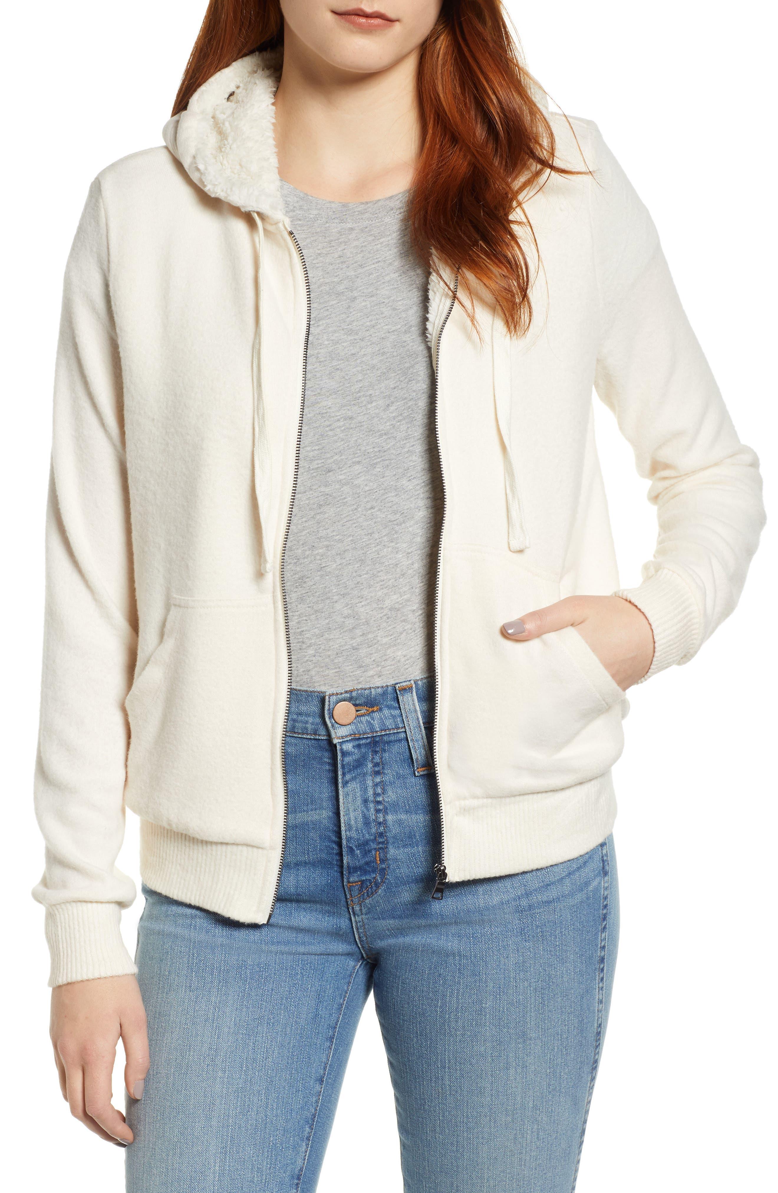 Bobeau Fleece Lined Hooded Jacket, White