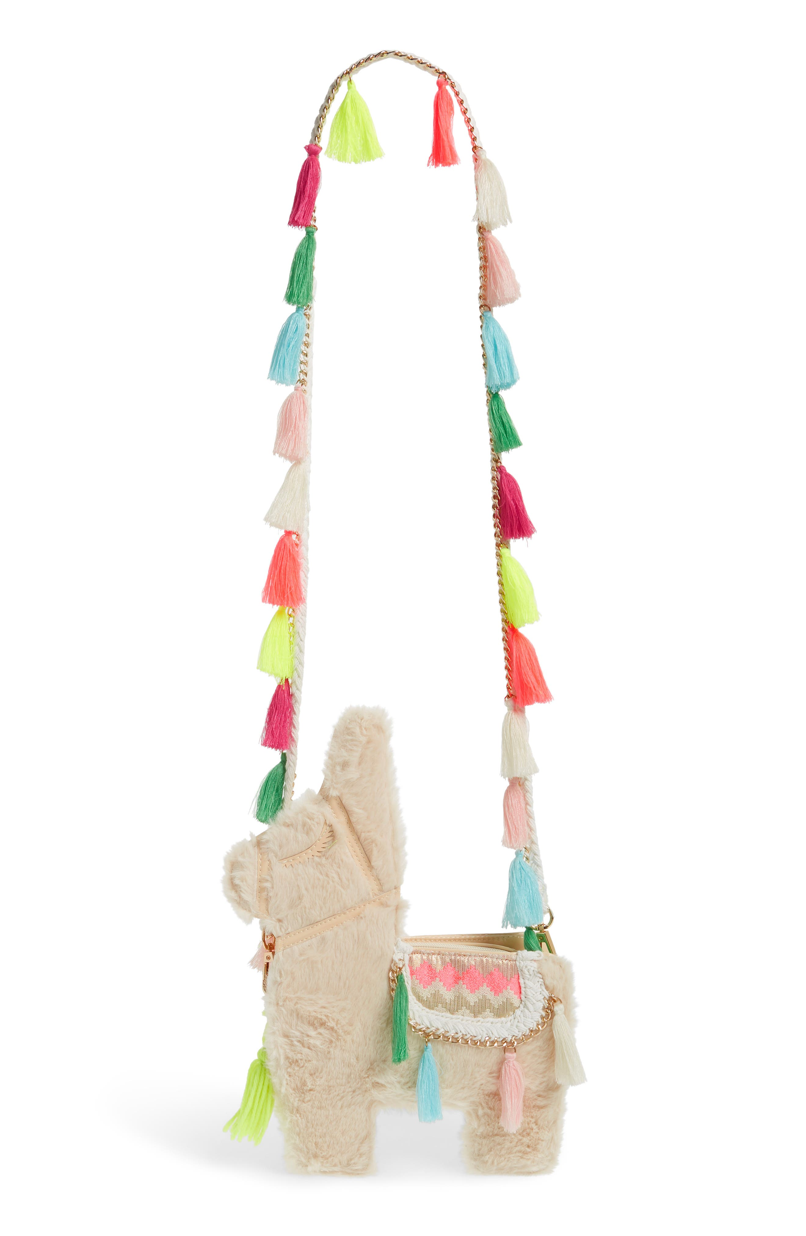 Llama Faux Fur Crossbody Bag,                             Main thumbnail 1, color,