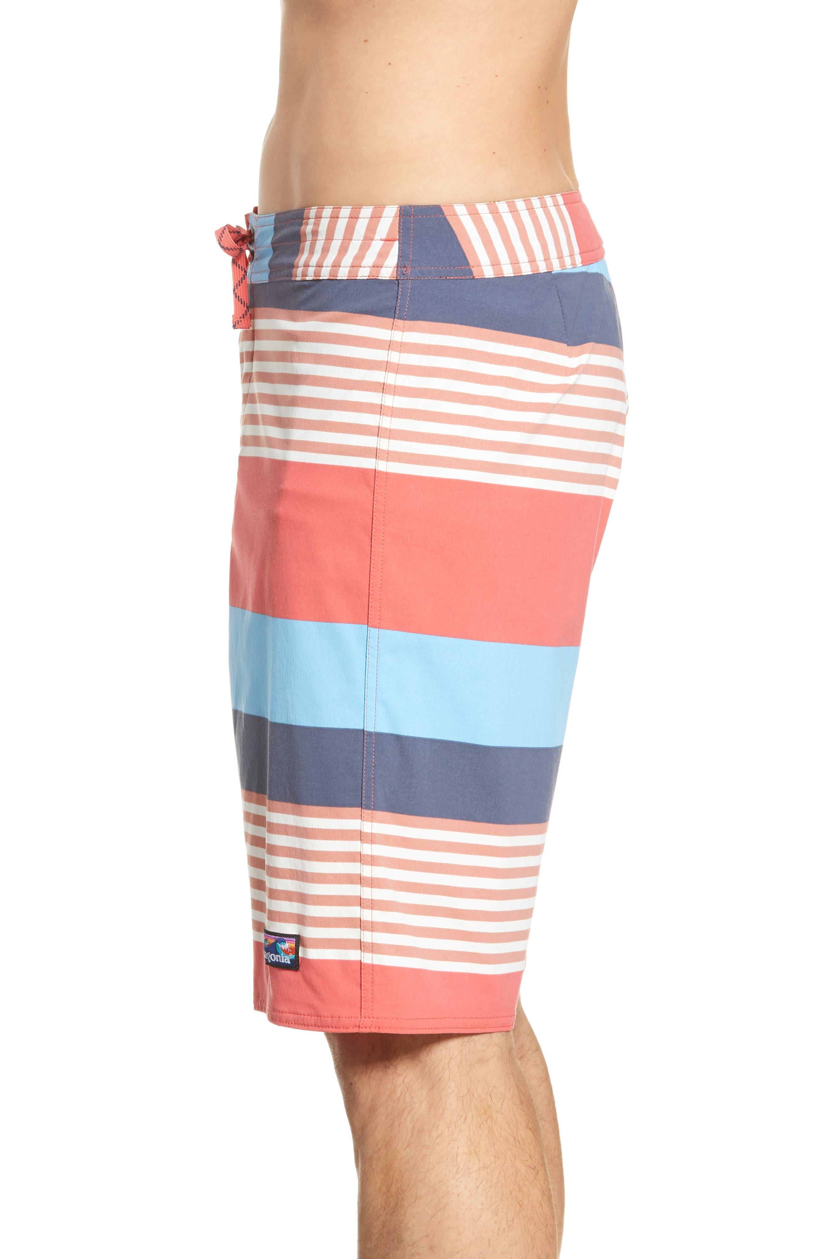 PATAGONIA,                             Wavefarer Board Shorts,                             Alternate thumbnail 4, color,                             FITZ STRIPE: SPICED CORAL