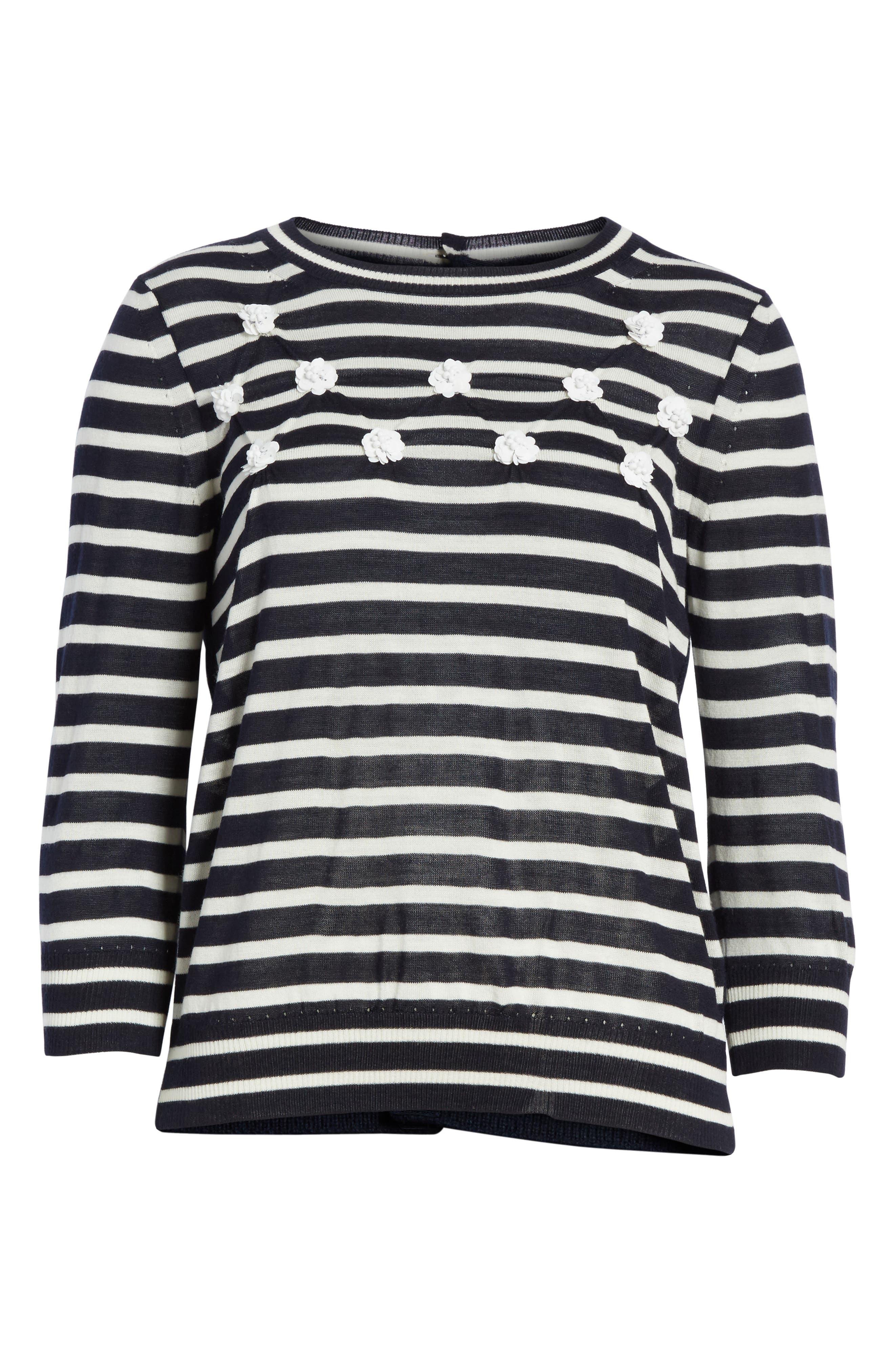 Button Back Stripe Sweater,                             Alternate thumbnail 6, color,                             410