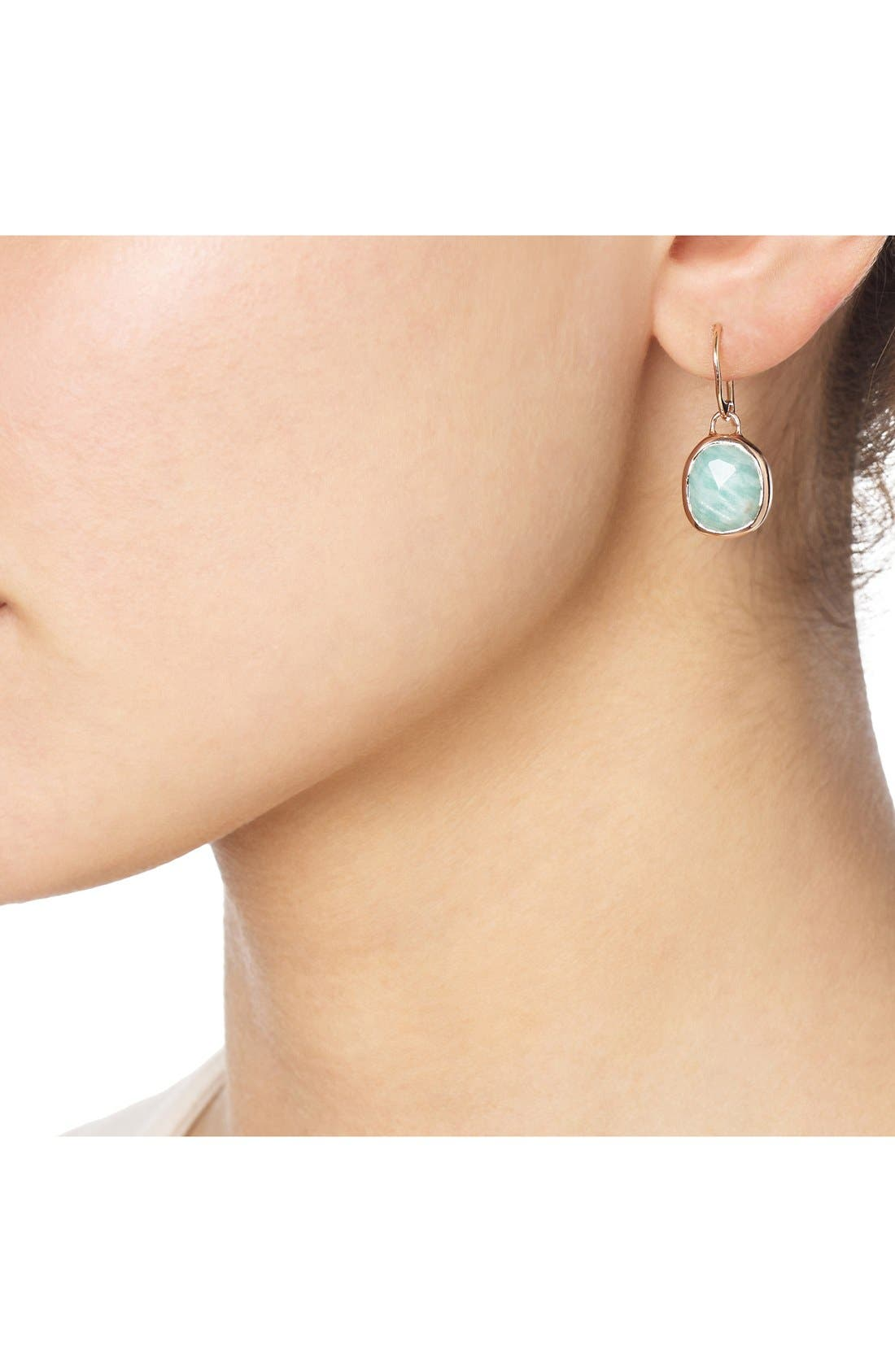 Siren Semiprecious Stone Drop Earrings,                             Alternate thumbnail 4, color,                             AMAZONITE/ ROSE GOLD
