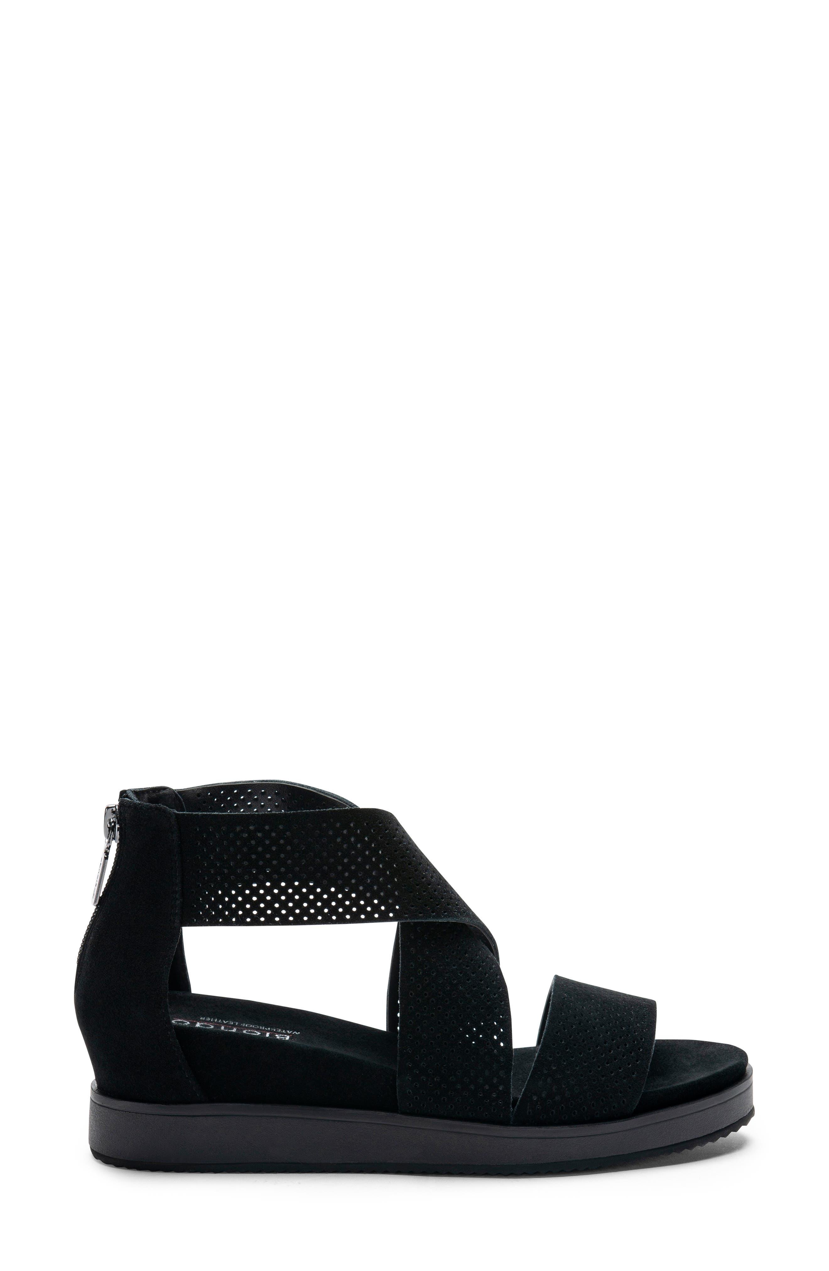Cassie Waterproof Sandal,                             Alternate thumbnail 3, color,                             BLACK SUEDE