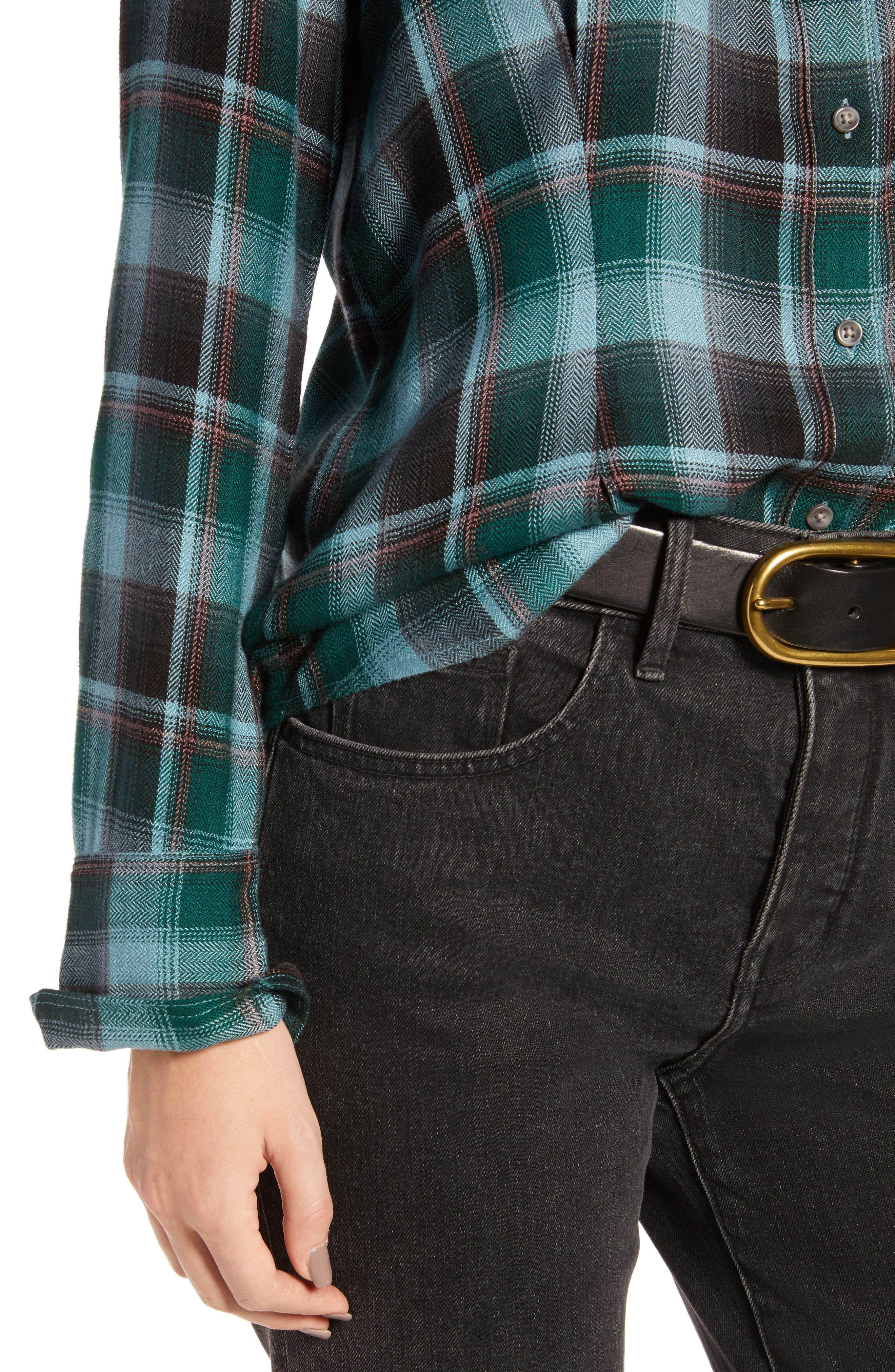 Plaid Corset Shirt,                             Alternate thumbnail 4, color,                             BLUE SMOKE BLANKET CHECK