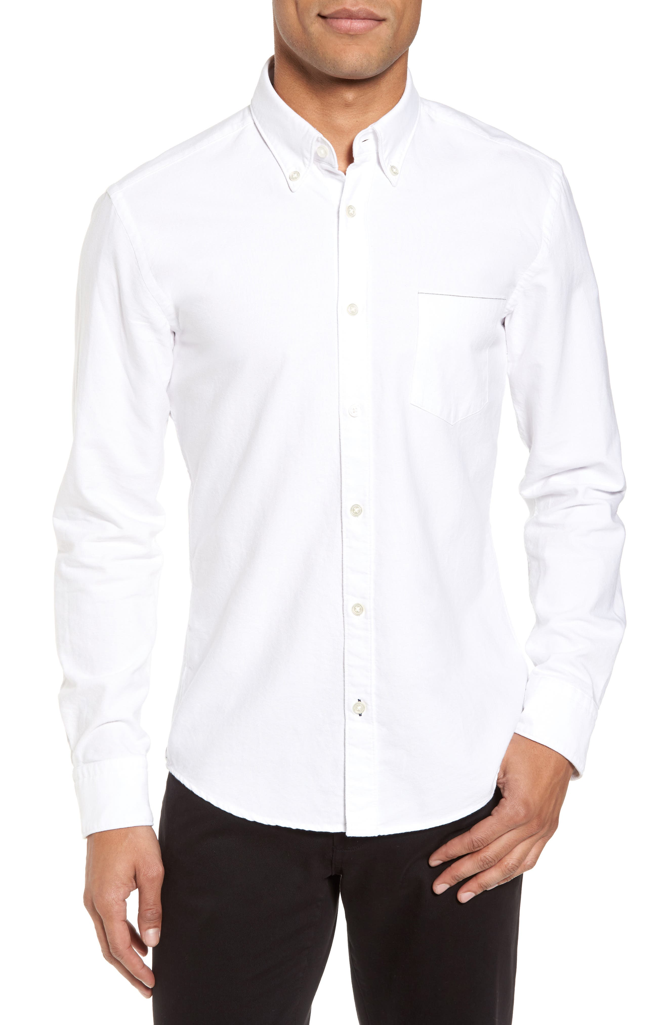 Rod Trim Fit Selvedge Oxford Sport Shirt,                         Main,                         color, 101