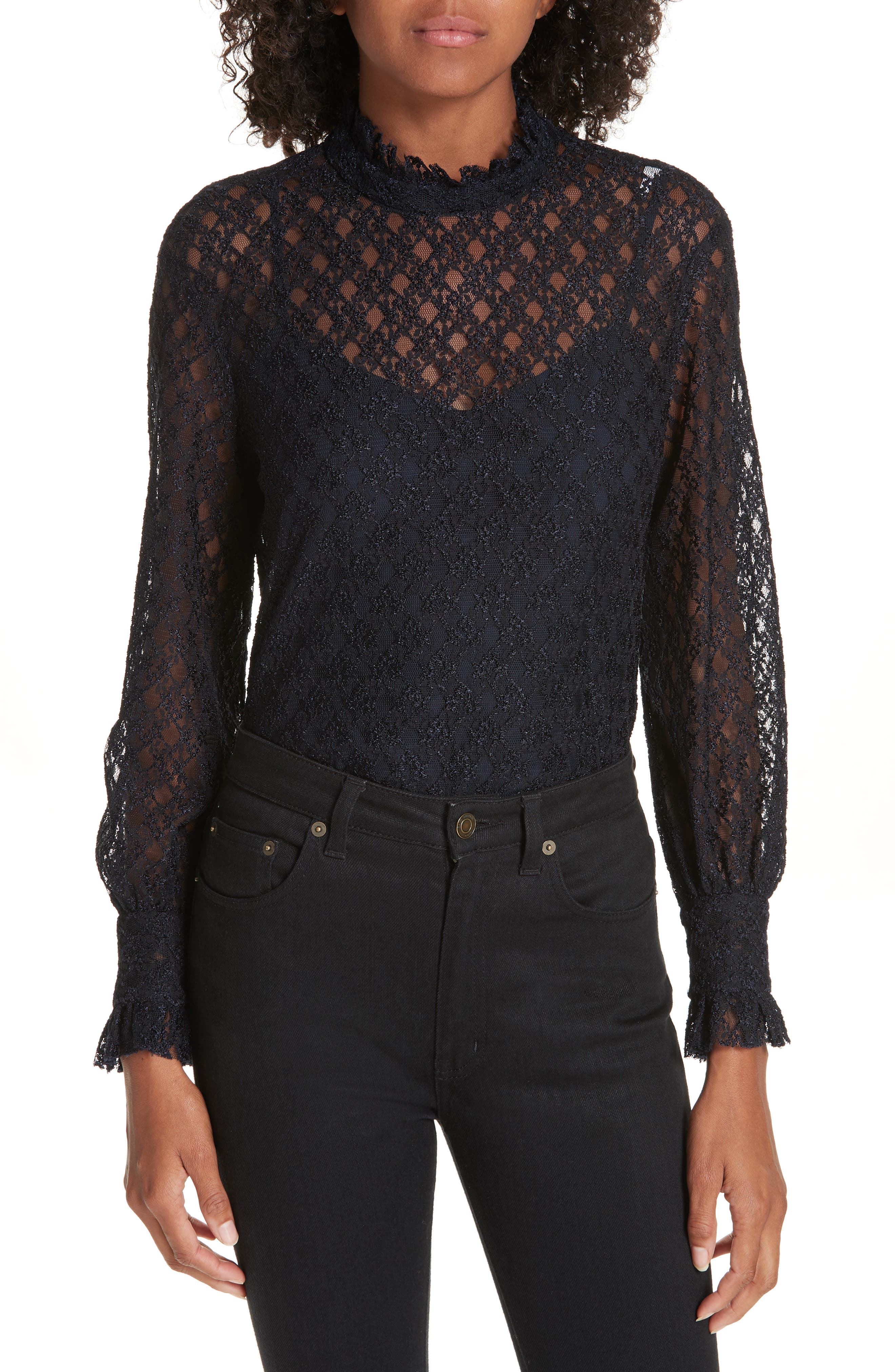 Cacahuete Lace Top,                         Main,                         color, DEEP NAVY