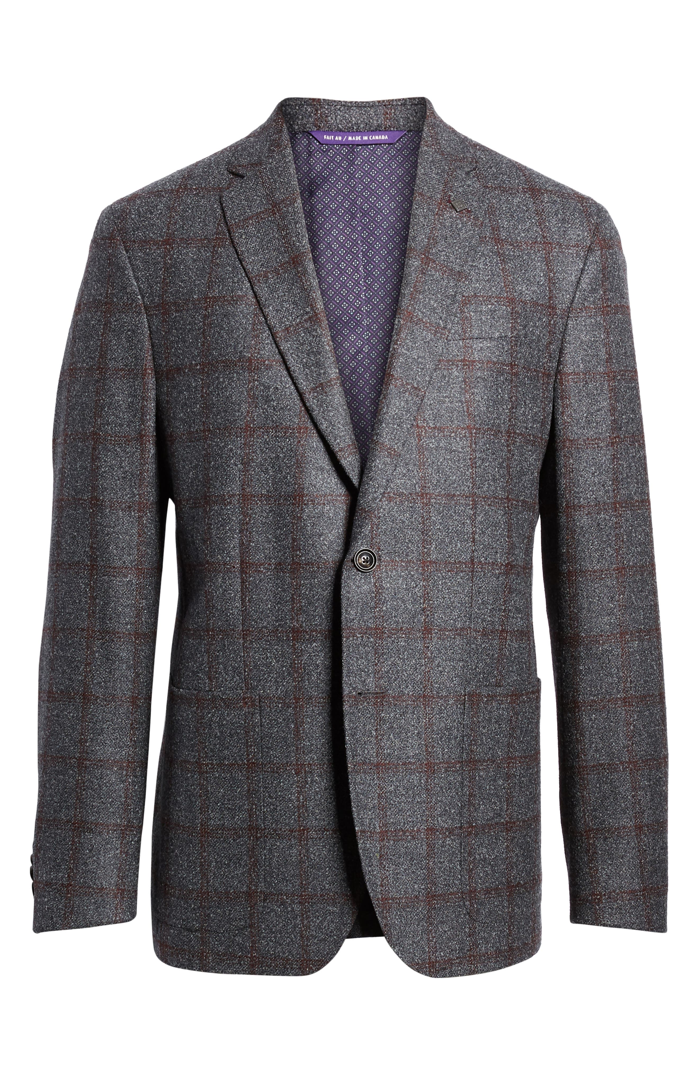 Kyle Trim Fit Windowpane Wool Blend Sport Coat,                             Alternate thumbnail 5, color,                             020