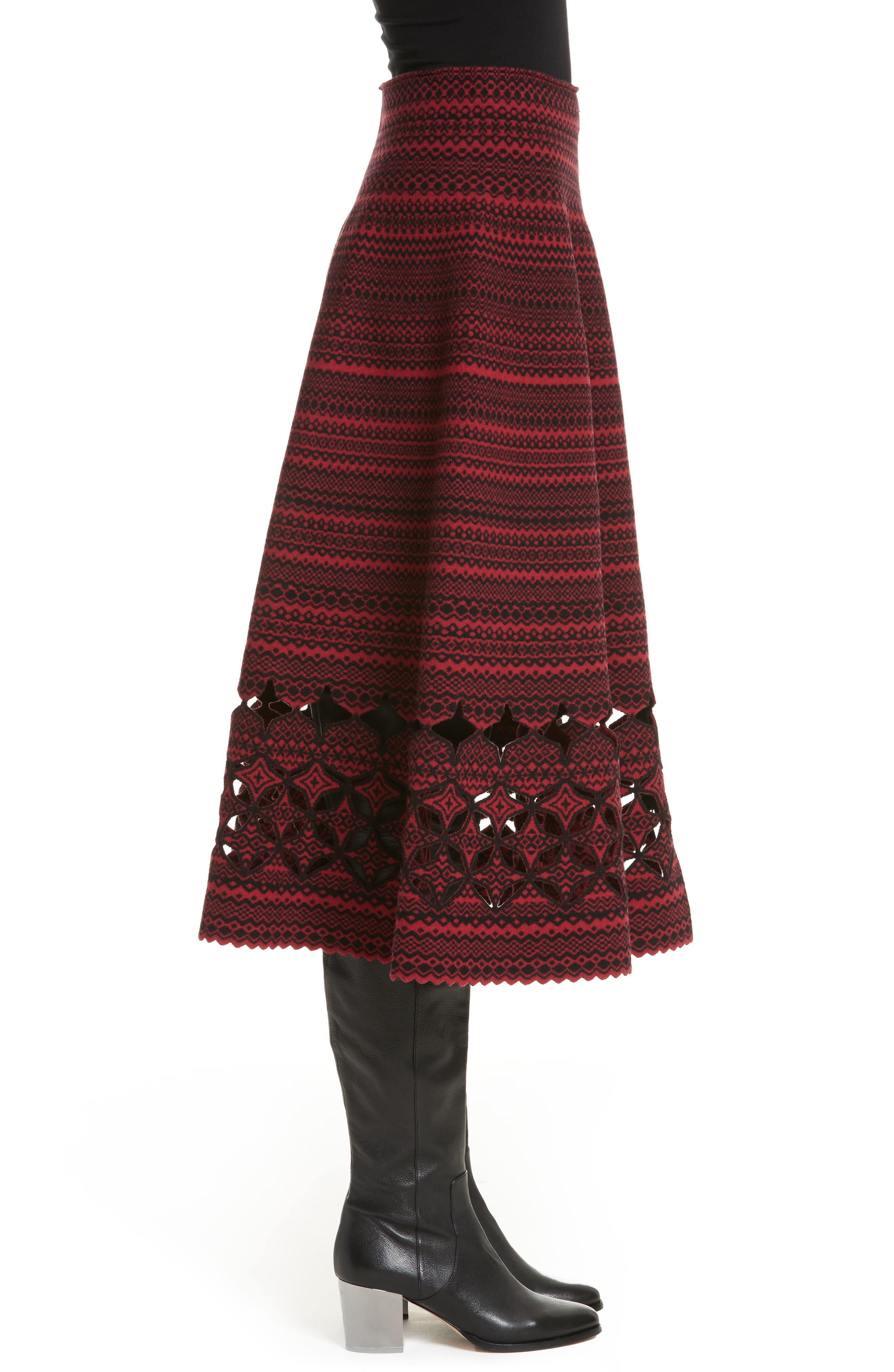 Fair Isle Wool Blend Skirt,                             Alternate thumbnail 3, color,                             600