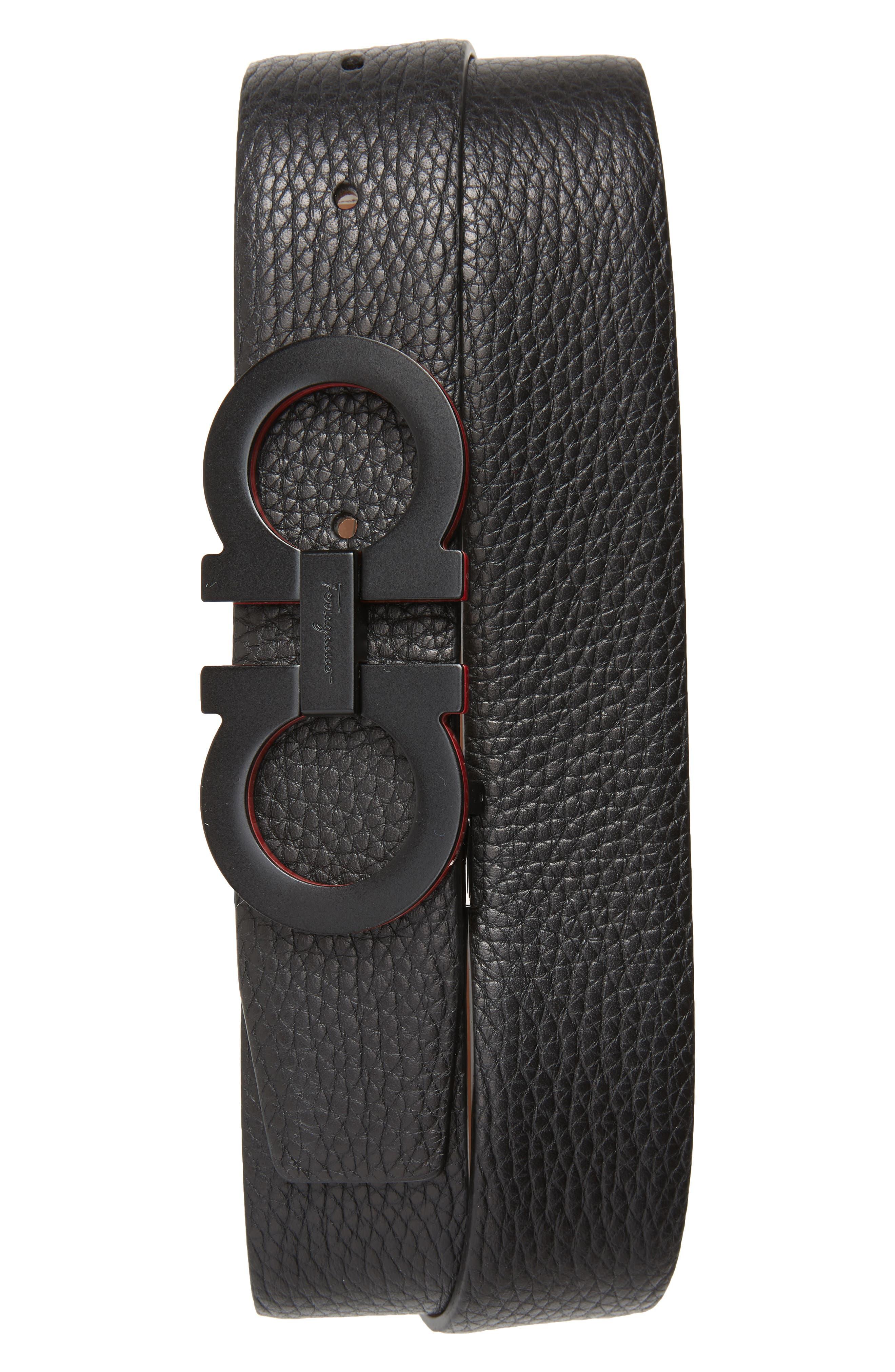 Panini Leather Belt,                             Main thumbnail 1, color,                             NERO