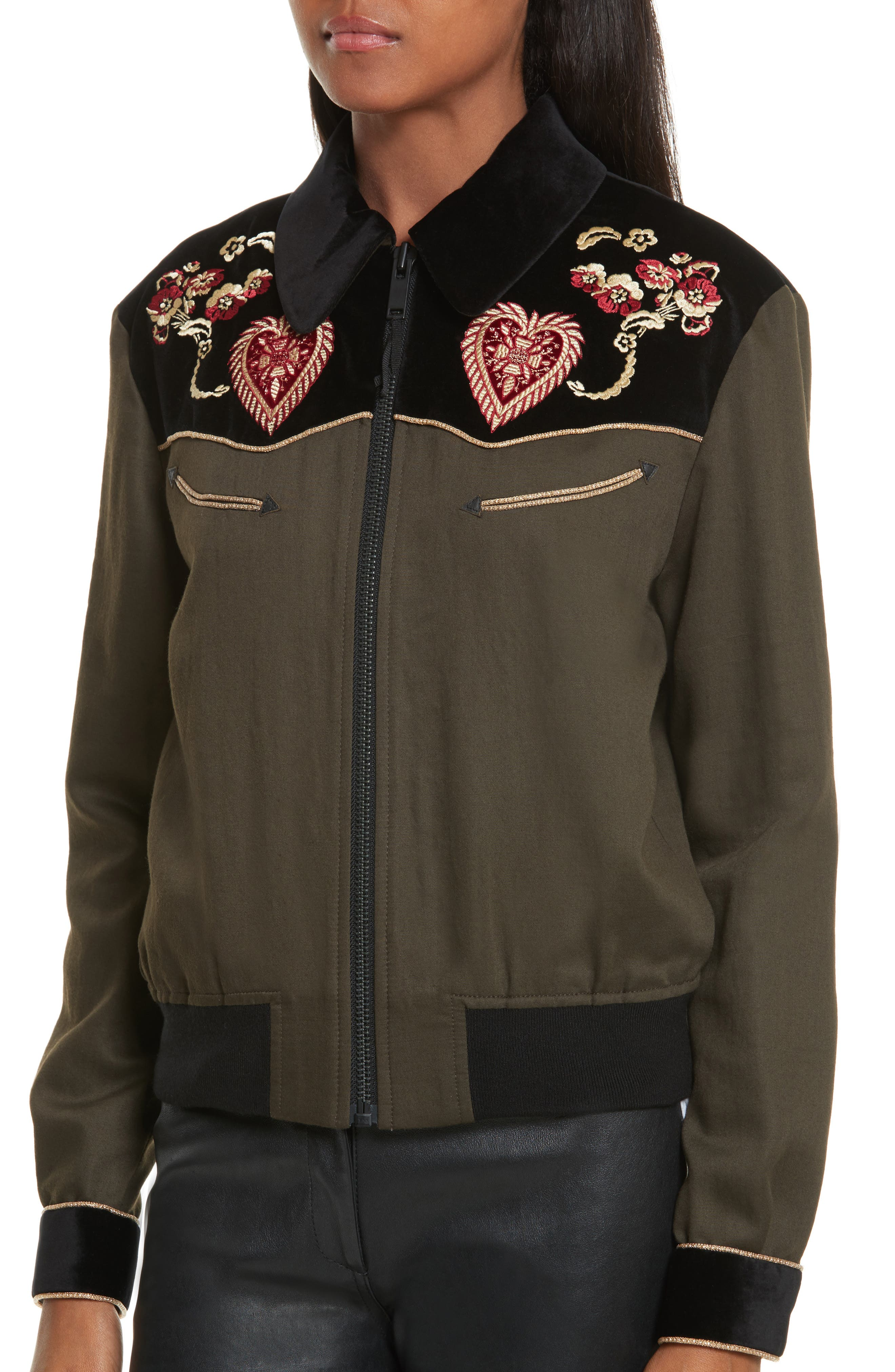 Contrast Embroidery Bomber Jacket,                             Alternate thumbnail 4, color,